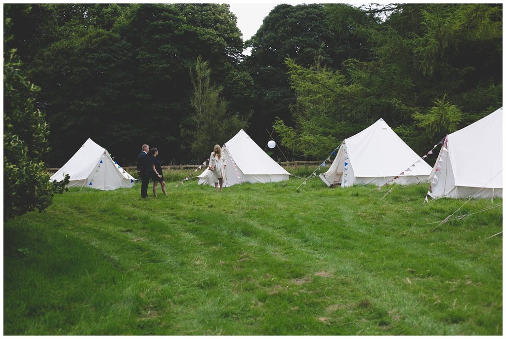 Fancy white glamping yurt style tents