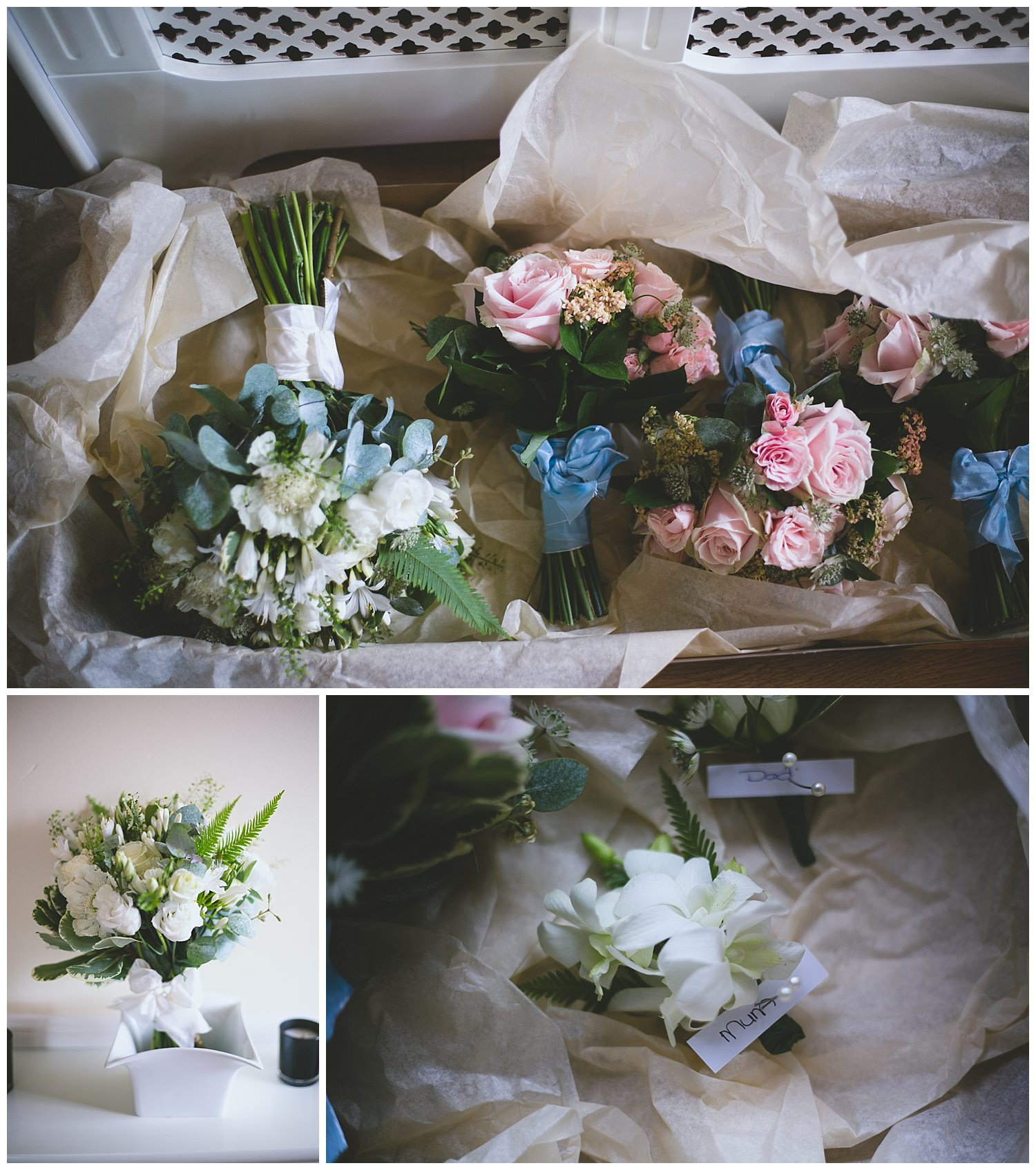A mix of white and pink blush tone bouquets with blue ribbon