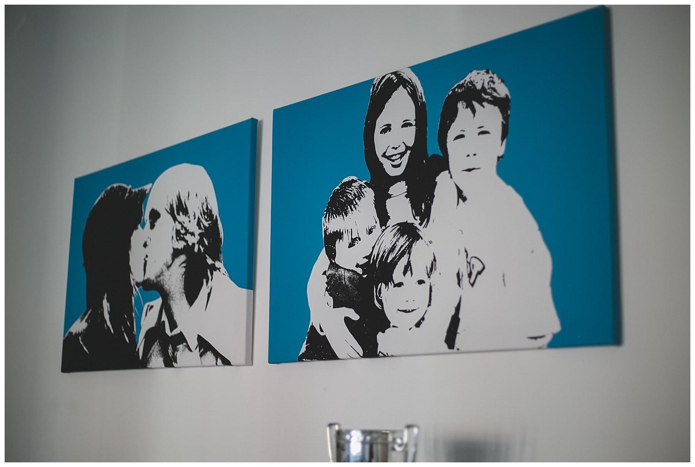 Blue pop art style family photographs on canvas
