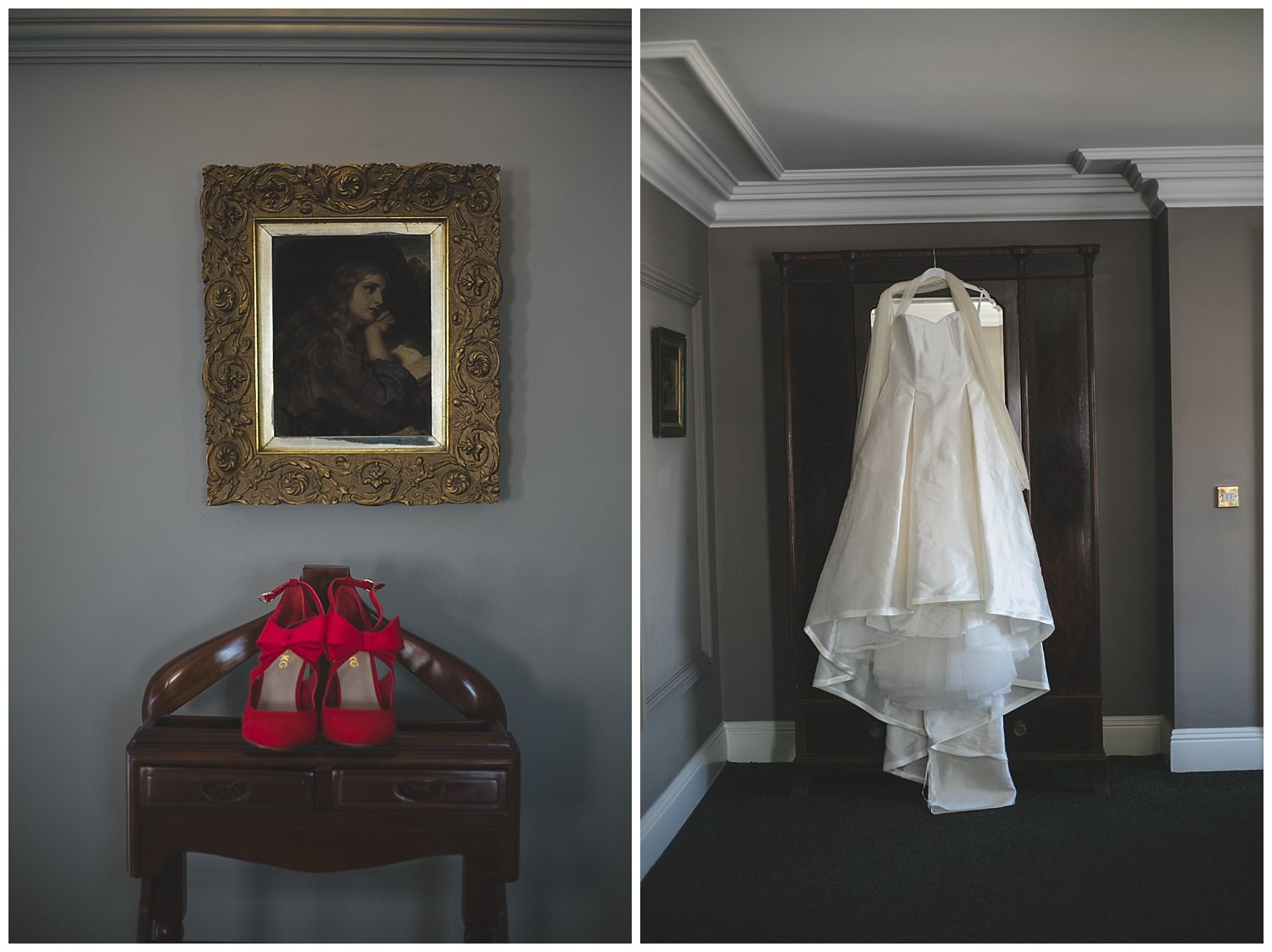 Wedding dress and shoes at Clonabreany House