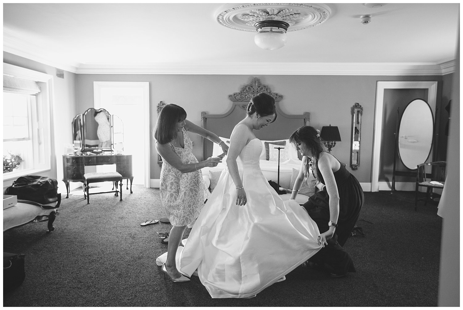 The finishing touches are put to the dress