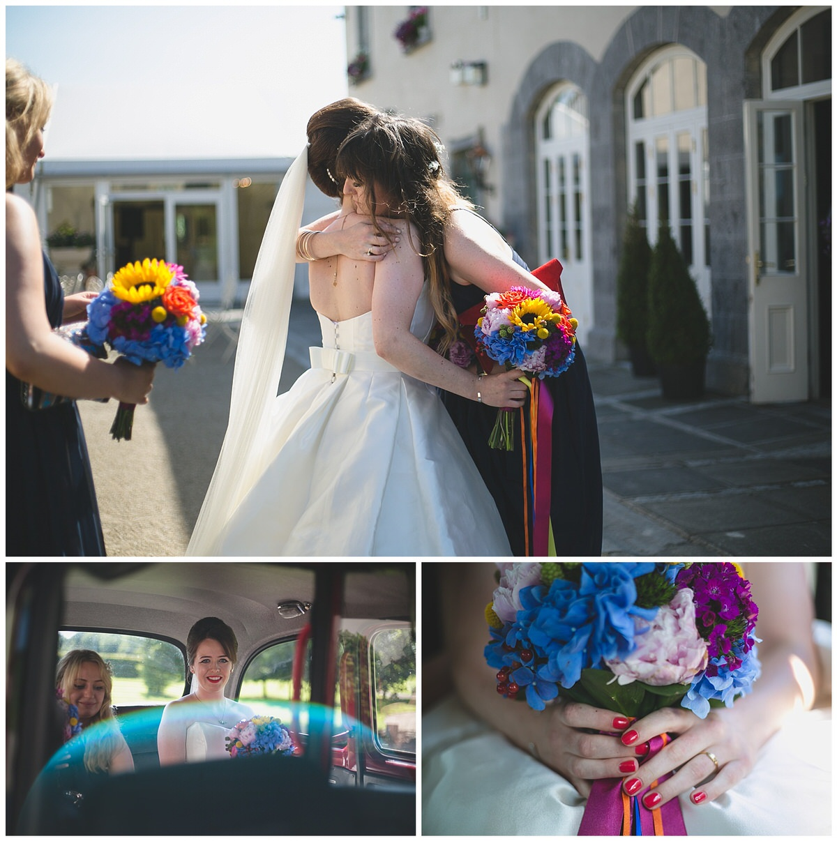 Bridal party on their way to the wedding with amazing colourful bouquets