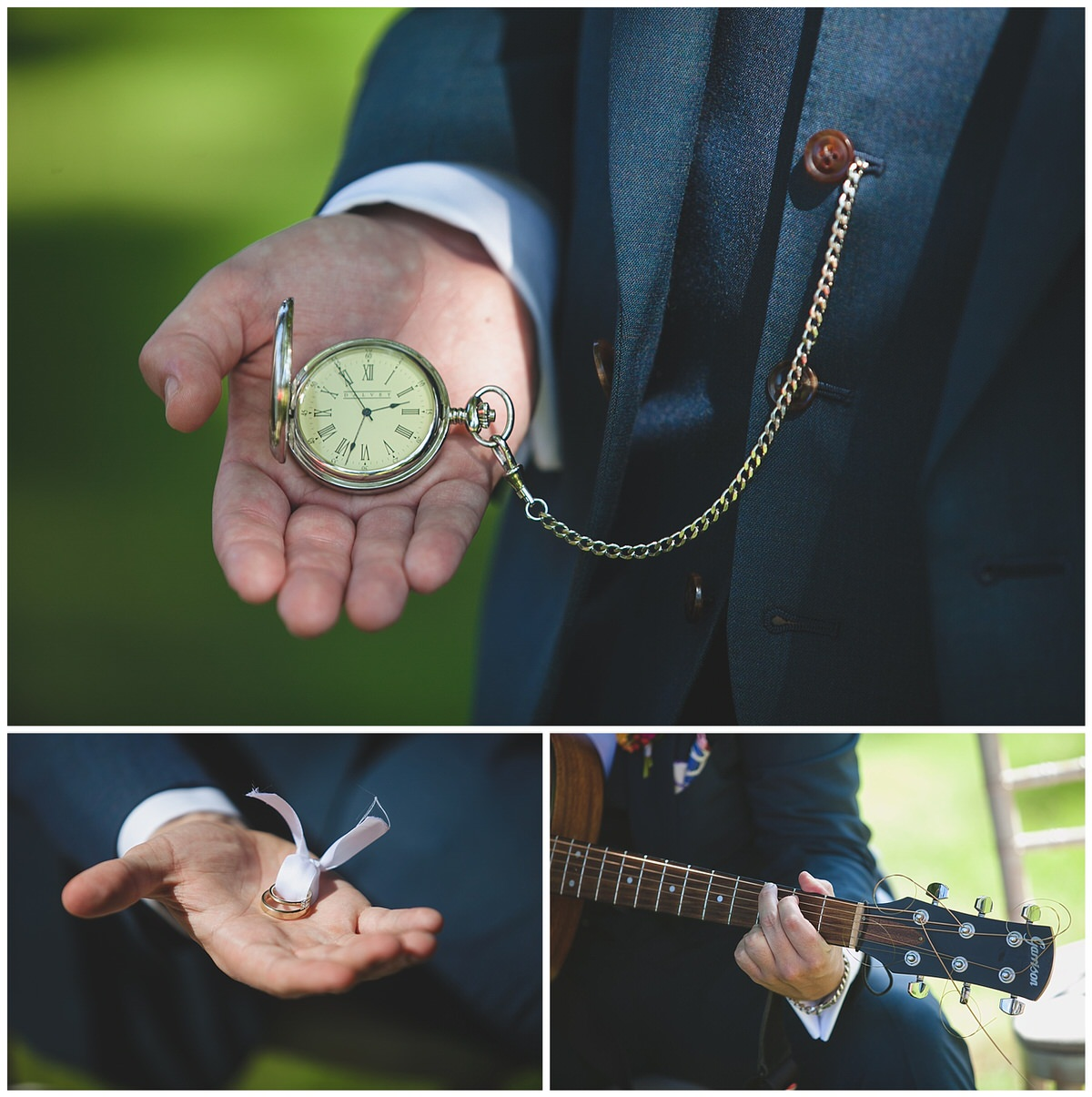 Hand holding a lovely pocket watch and wedding rings