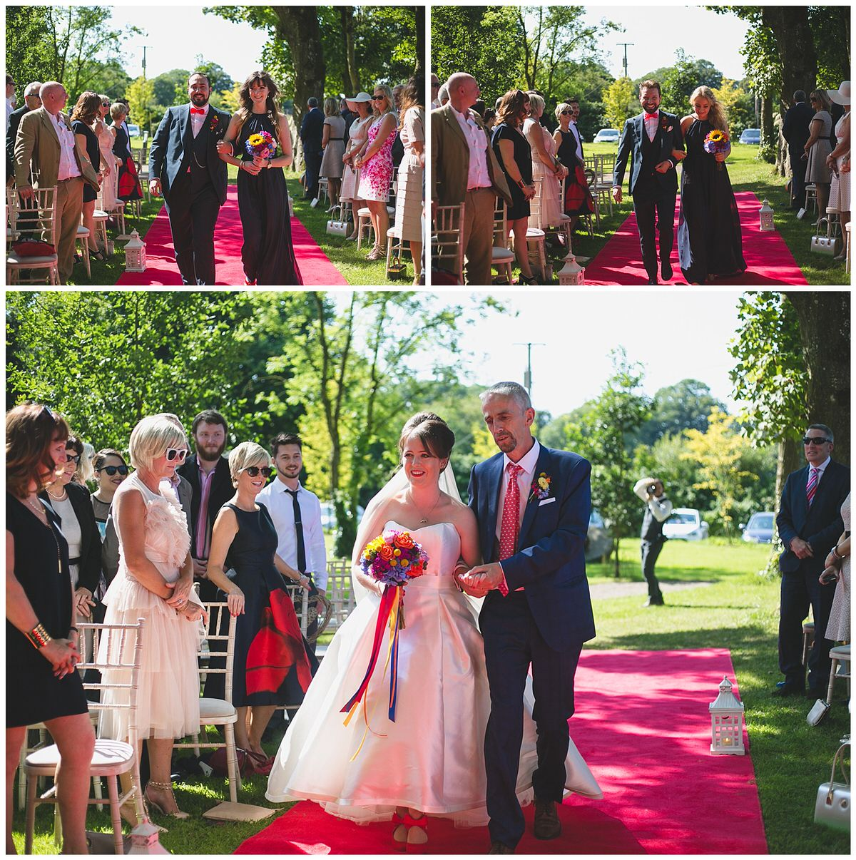 Bridal party walking down the red carpet aisle outside at Clonabreany House