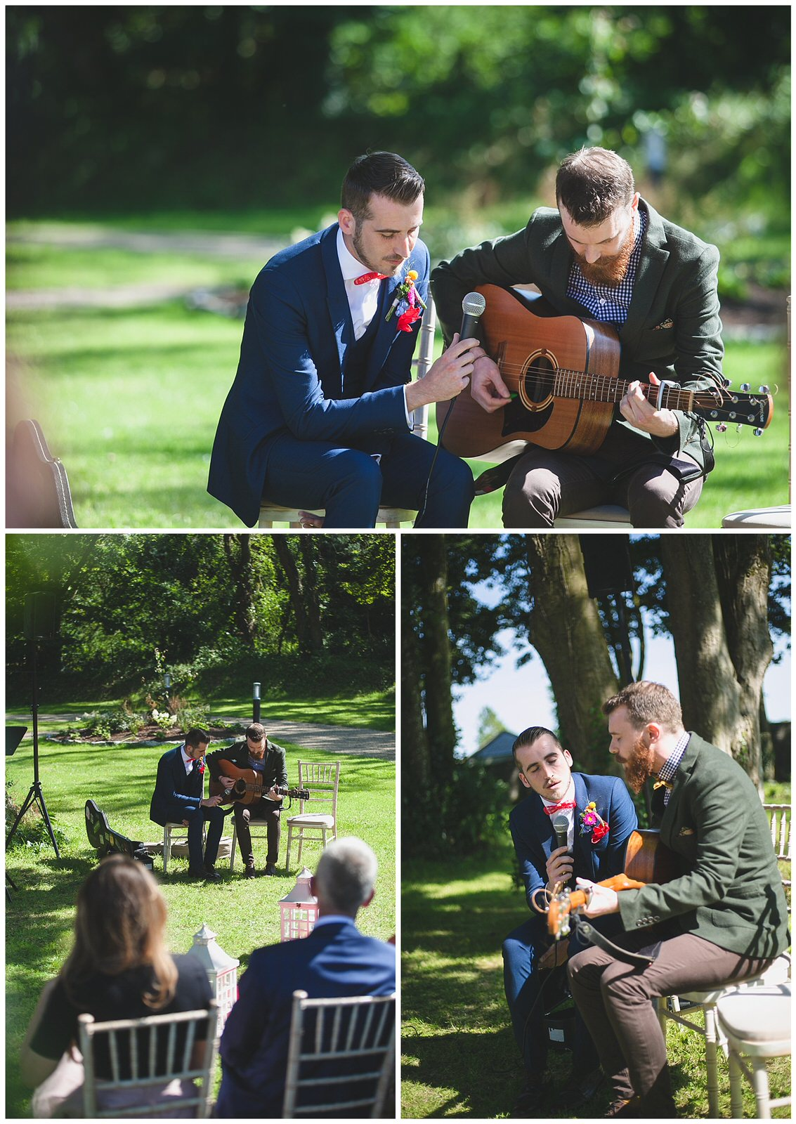 Groom and his brother sing and play guitar during the humanist wedding ceremony