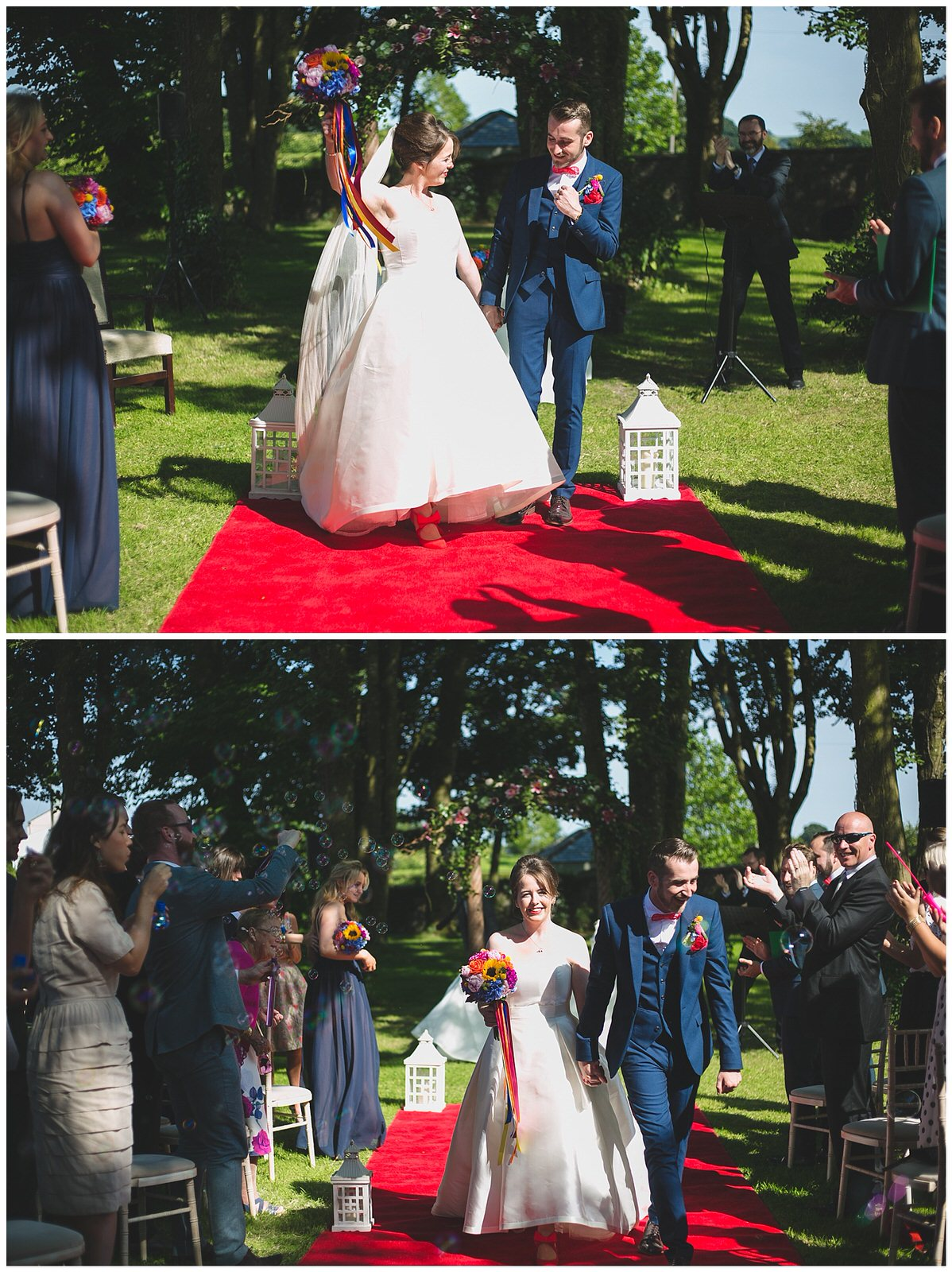 Newly marries couple cheer as they walk down the aisle