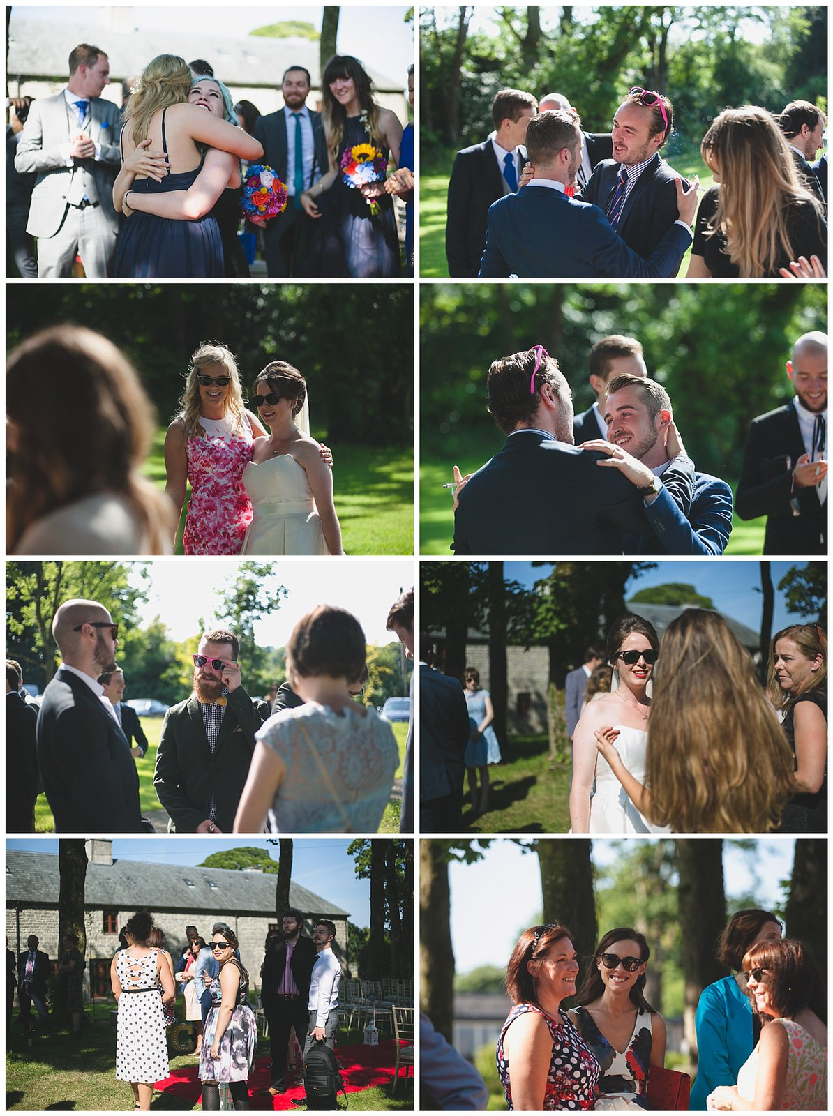 candid snaps of guests and friends hugging after the wedding ceremony