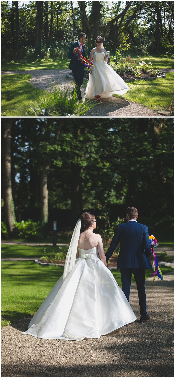 Newly married couple walk through the grounds at Clonabreany House