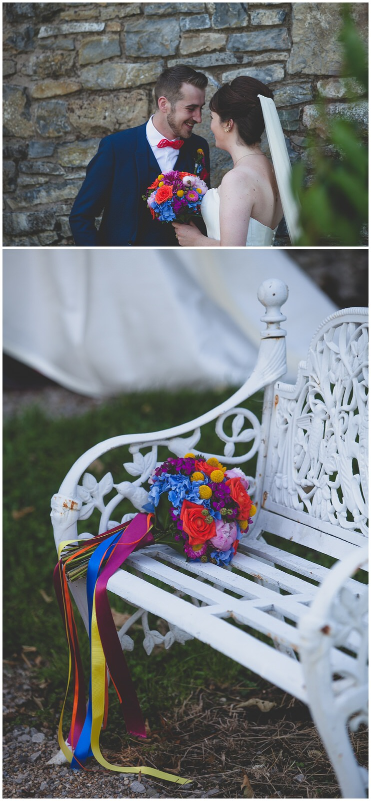 Awesome multicoloured bouquet tied off with super colourful ribbons