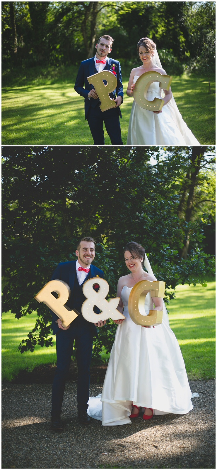 Husband & Wife laugh holding Light-up couple initial signs