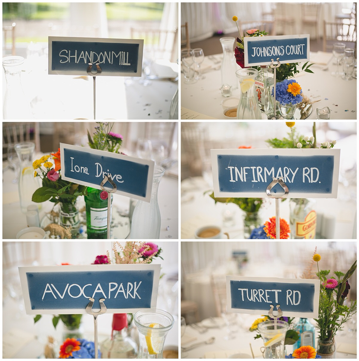 Cool DIY table name signs - Spray painted in the style of lrish street signs