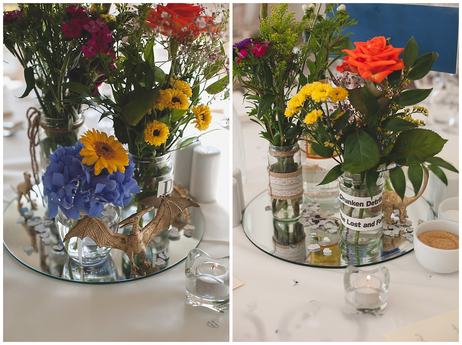 Table centre pieces with Homemade gold sprayed dinosaurs and beautiful summer bouquets in  glass jars