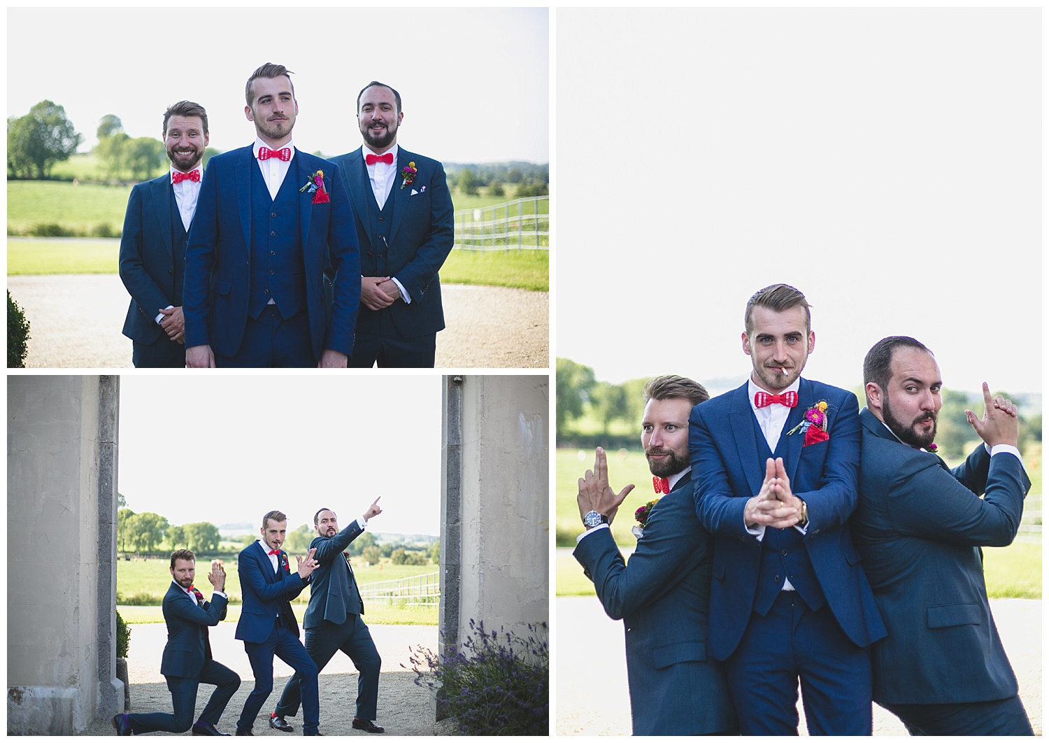 Groom and groomsmen doing fun silly poses
