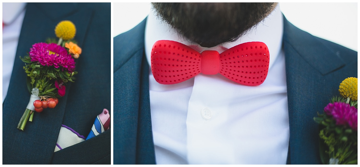 Details shot of red 3D printed Love & Robots Bow-Tie and Buttoner