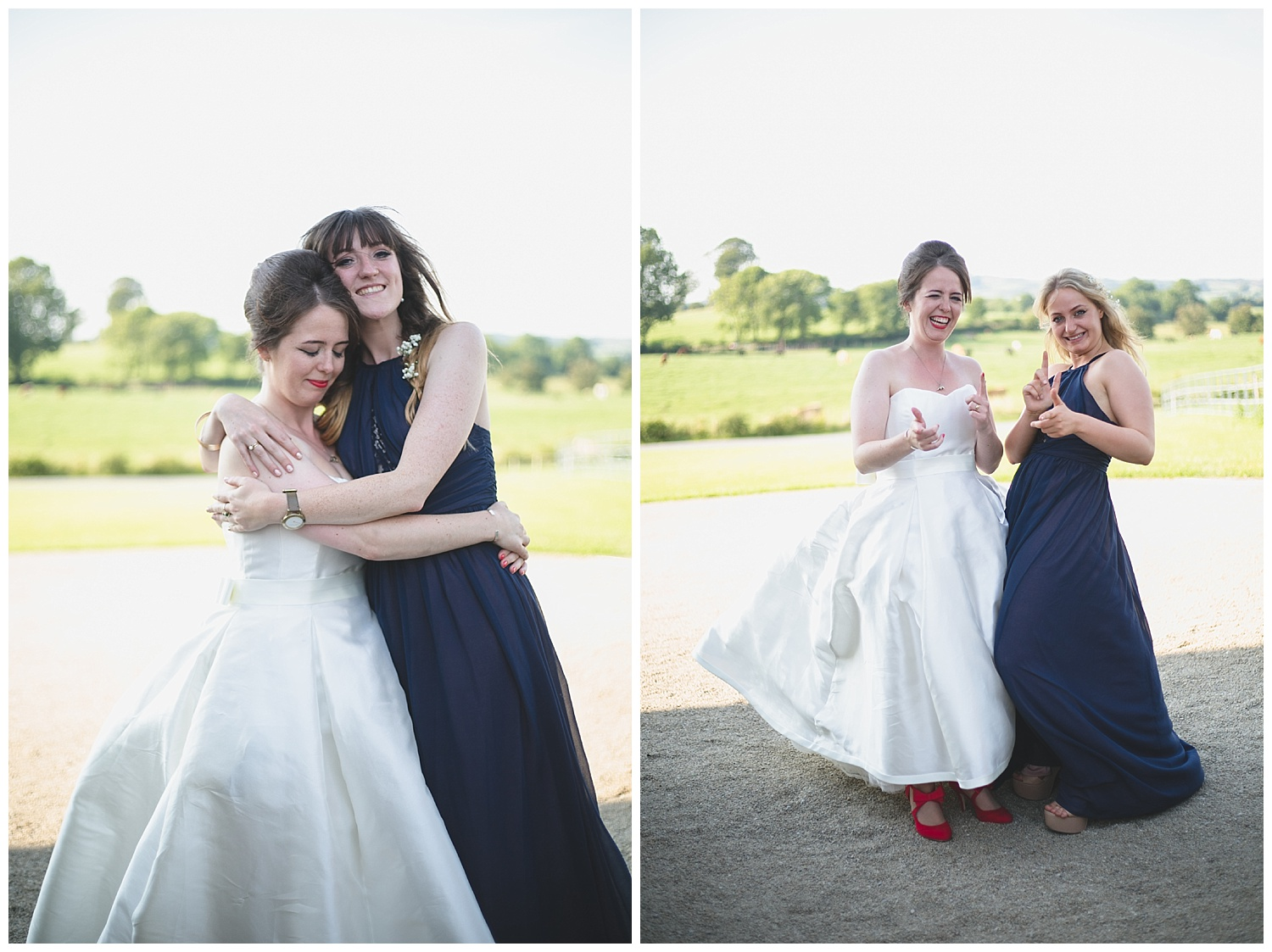 Hugs and cute joking photographs with bridesmaids