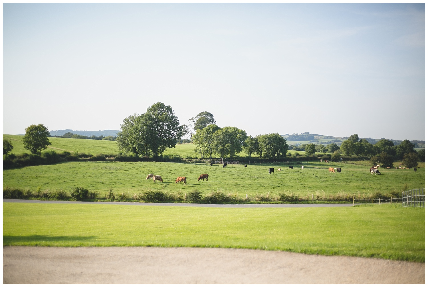 View of lush green fields at the back of Clonabreay House