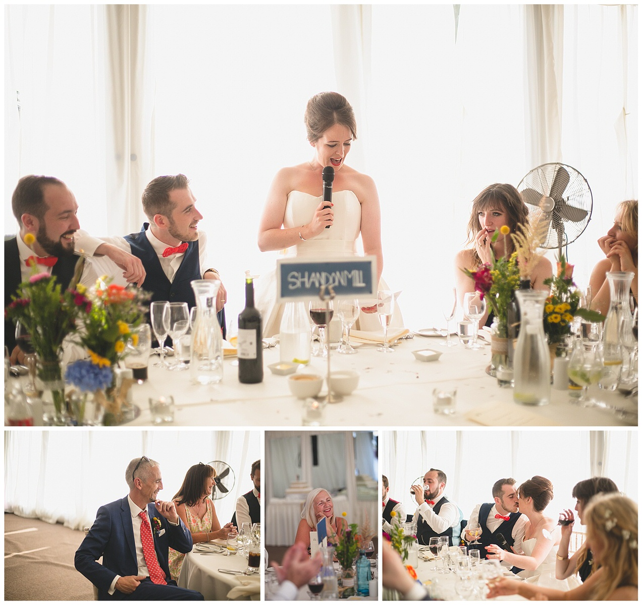 Bride gives s wedding toast and speech