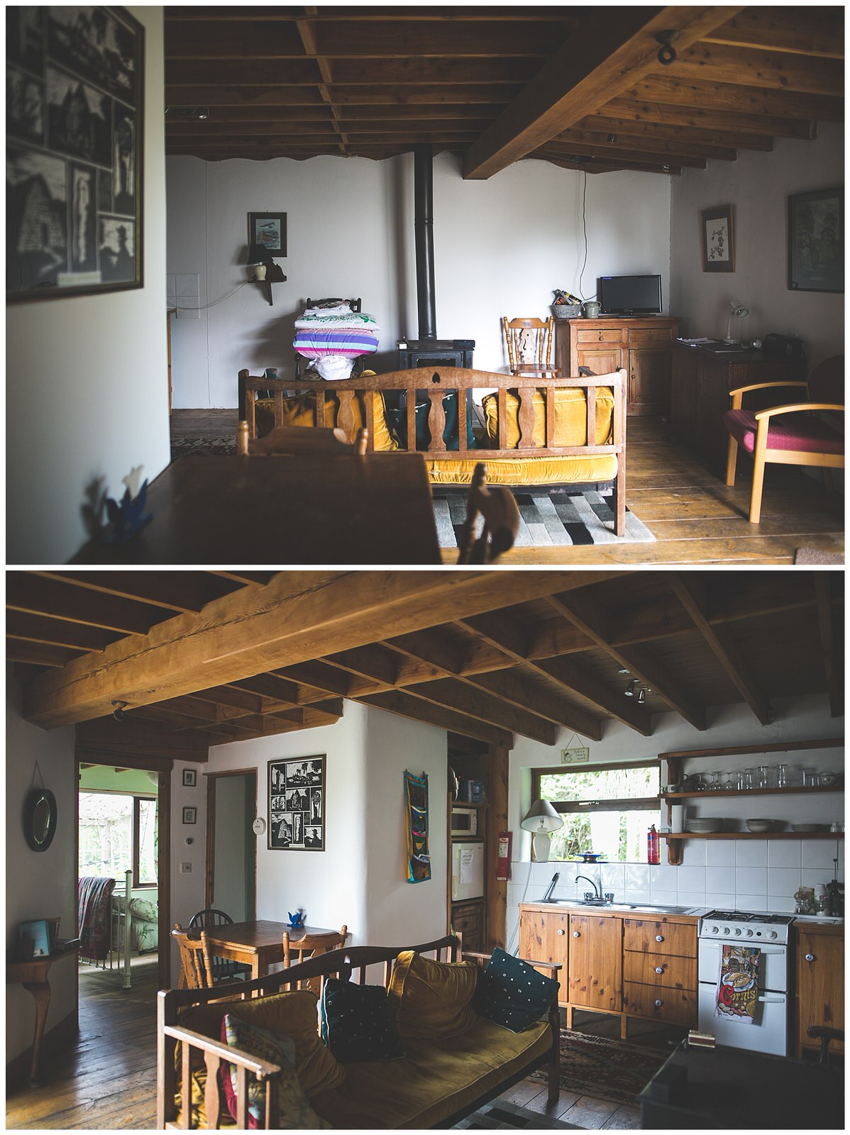 Interior of a Cute wooden cabin in the Irish Countryside