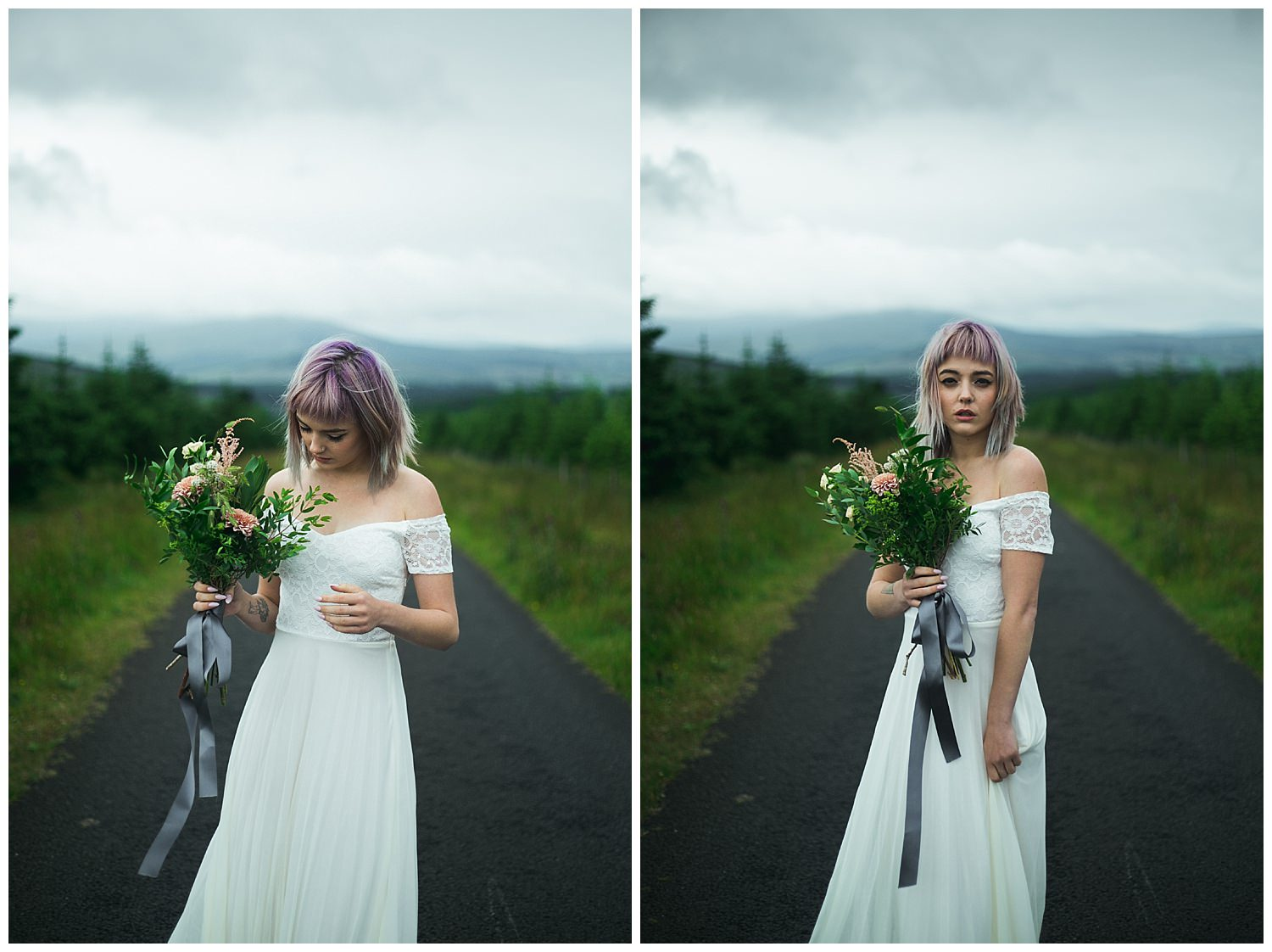 Bride with bob length purple hair along a tree lined path