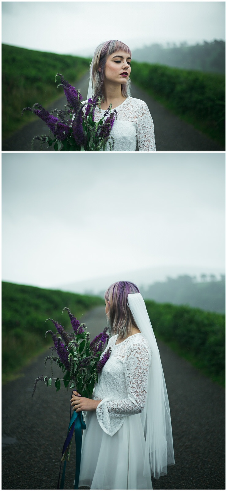 Portrait of a bride with a short wedding dress, veil and matching purple hair, flowers and lipstick