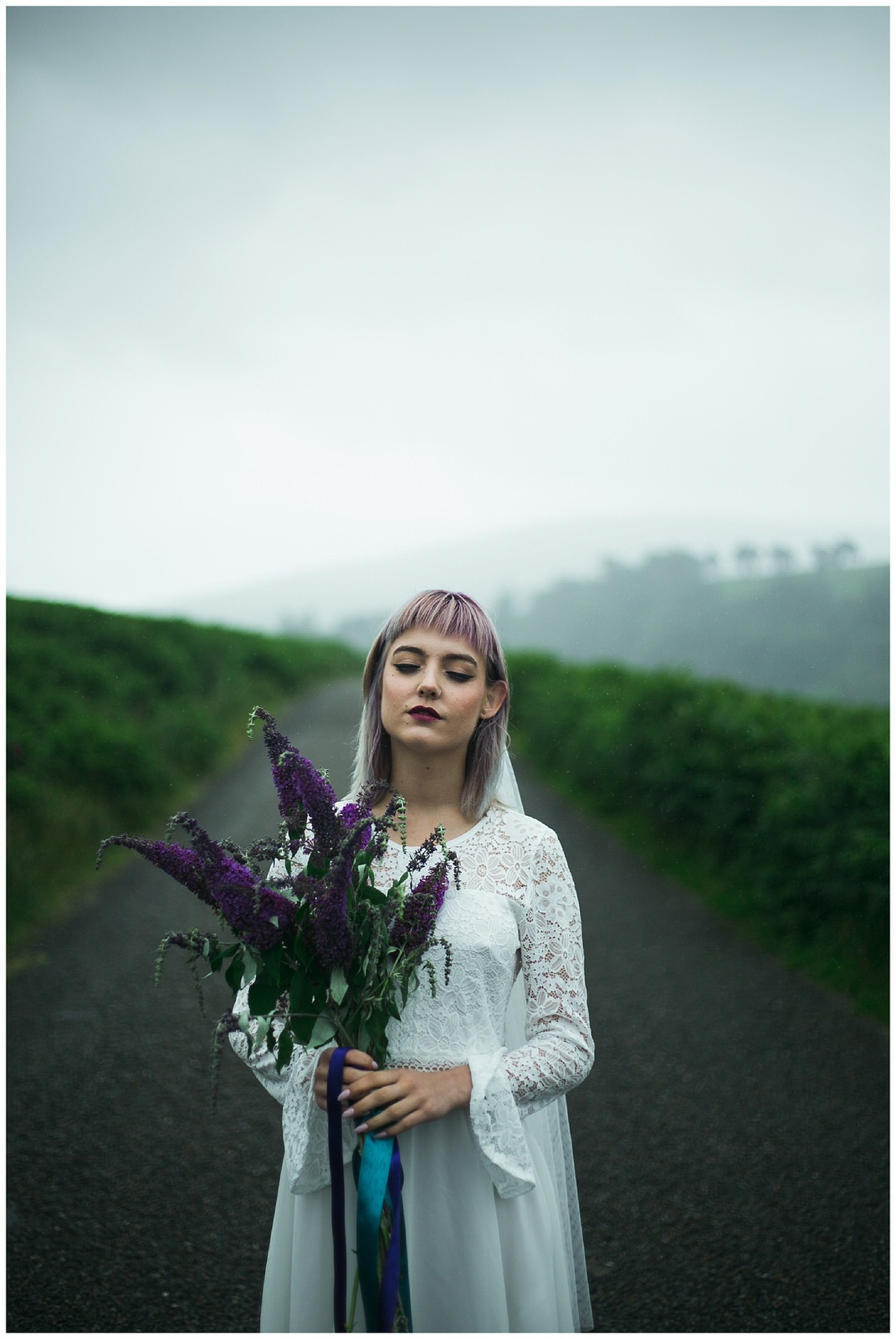 Rainy wedding portrait in the stunning Wicklow Mountains - Wild Things Wed Photography