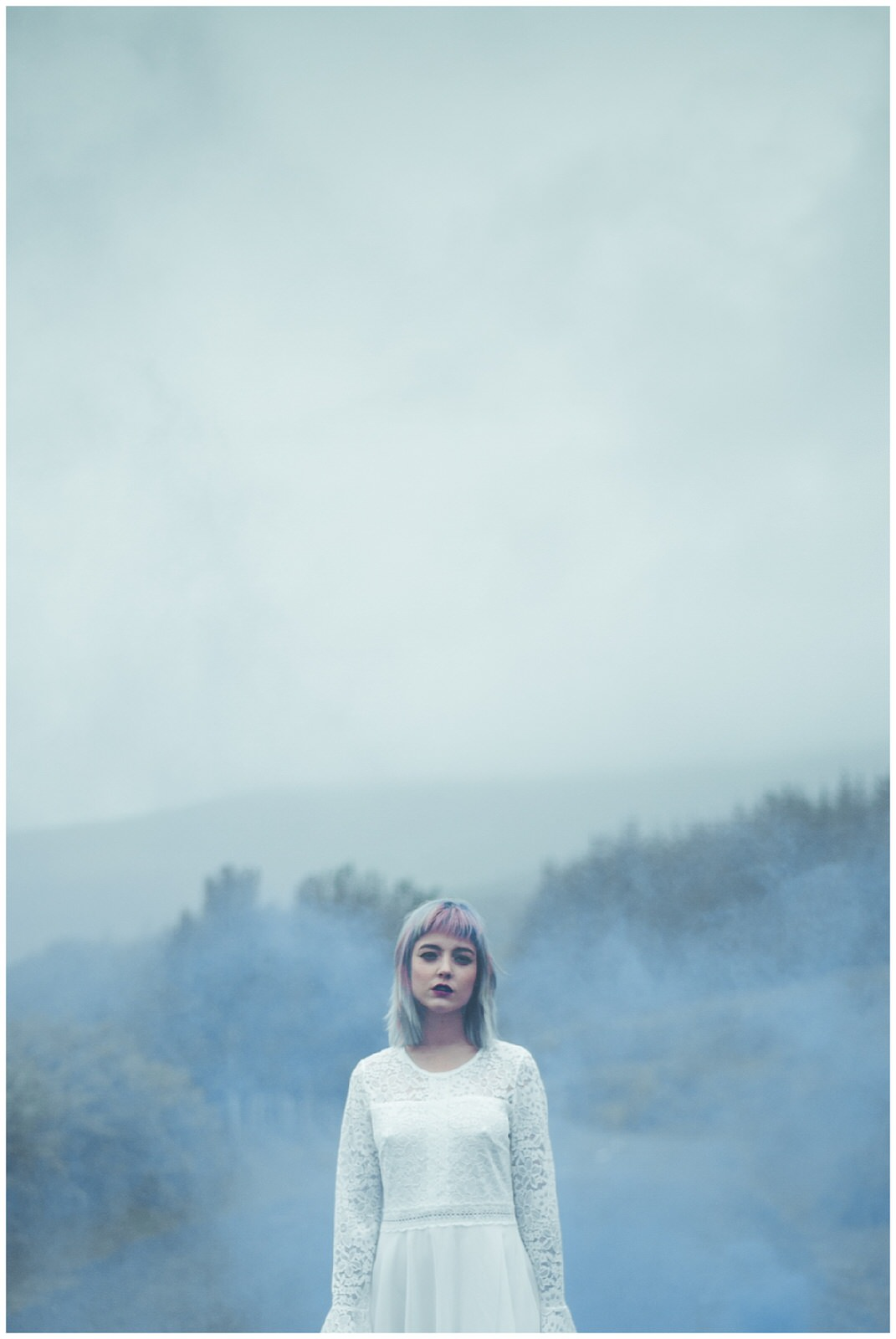 Hazy wedding portrait of a bride in the Wicklow Mountains near Sally's Gap