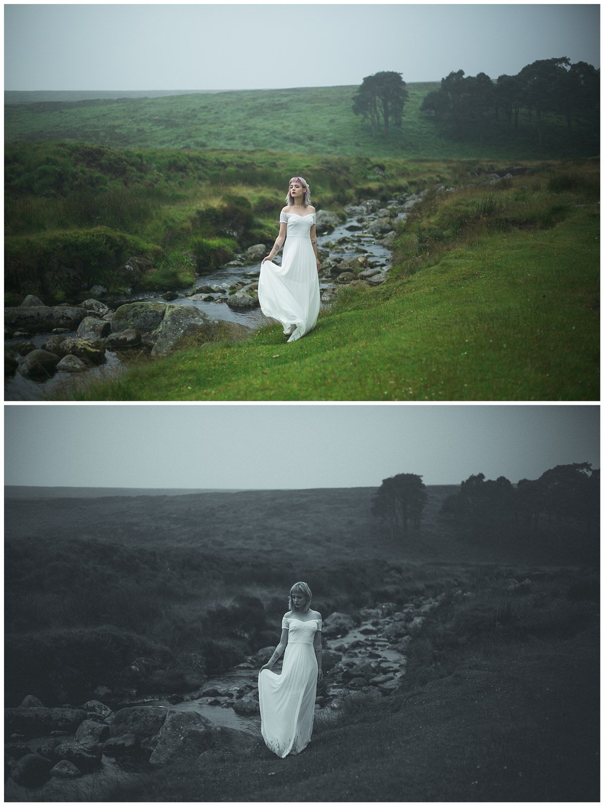 Colour & black and white image of a bride along a river in Sally's Gap Wicklow
