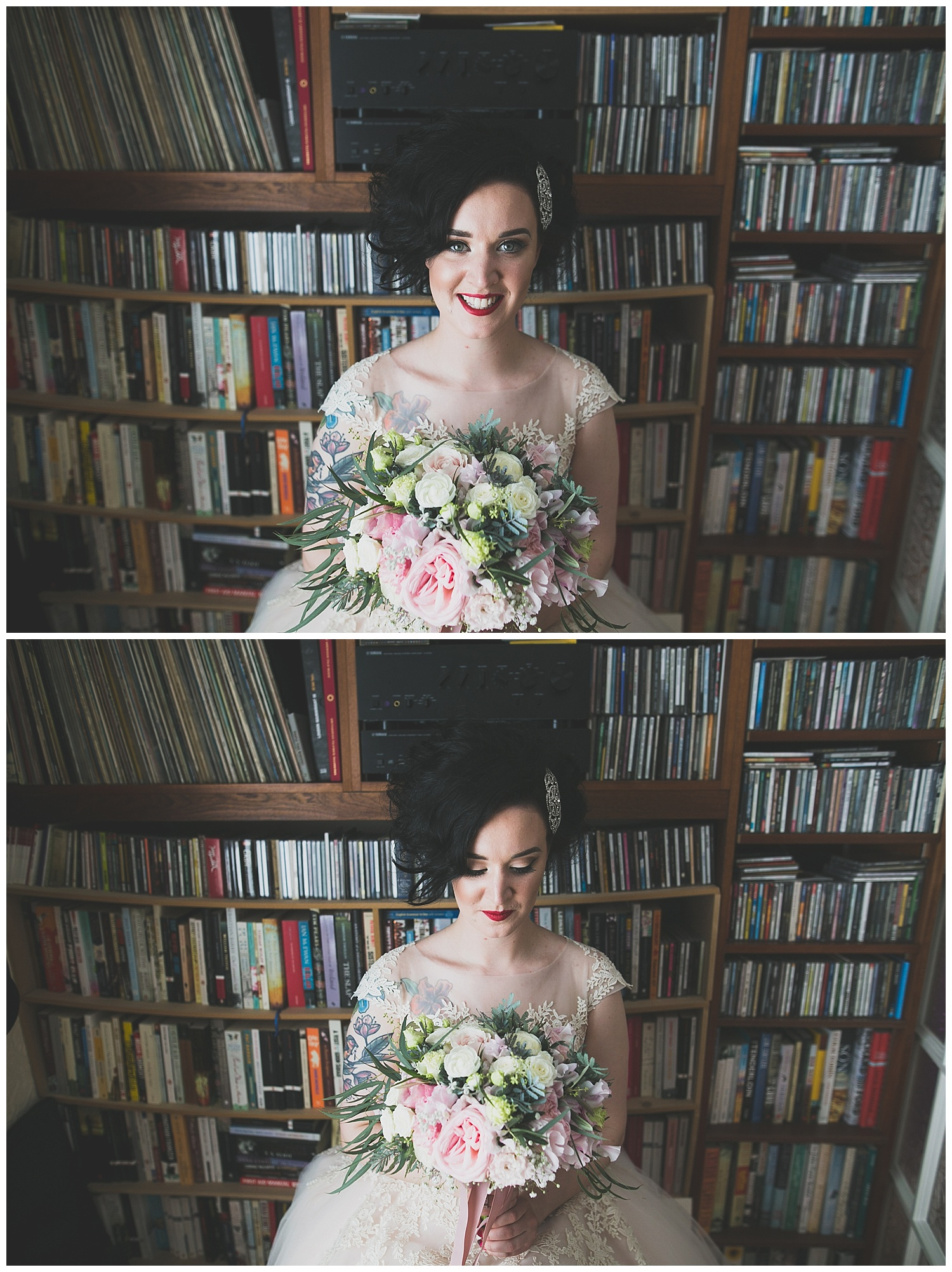 Portrait of alternative rock n roll bride in from of a cool wall of CDs and books - Wild Things Wed Photography