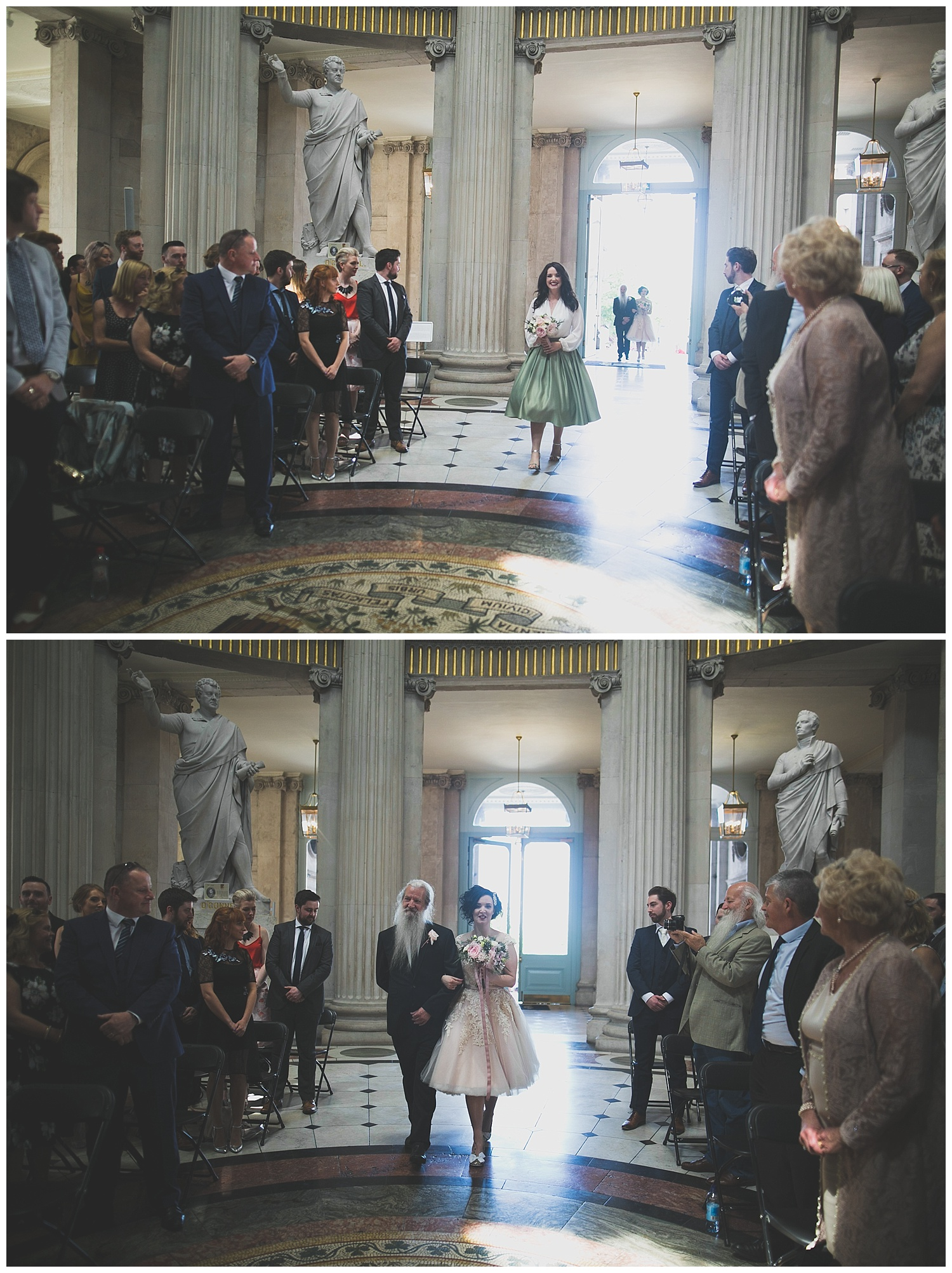 Waking down the aisle in City Hall Dublin, Ireland
