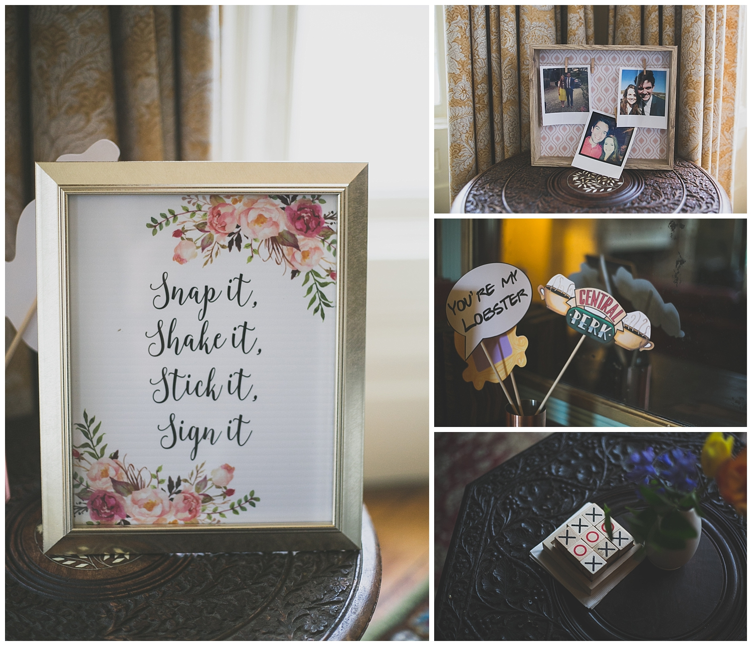 snap it, shake it., stick it, sign it, wedding polaroid station