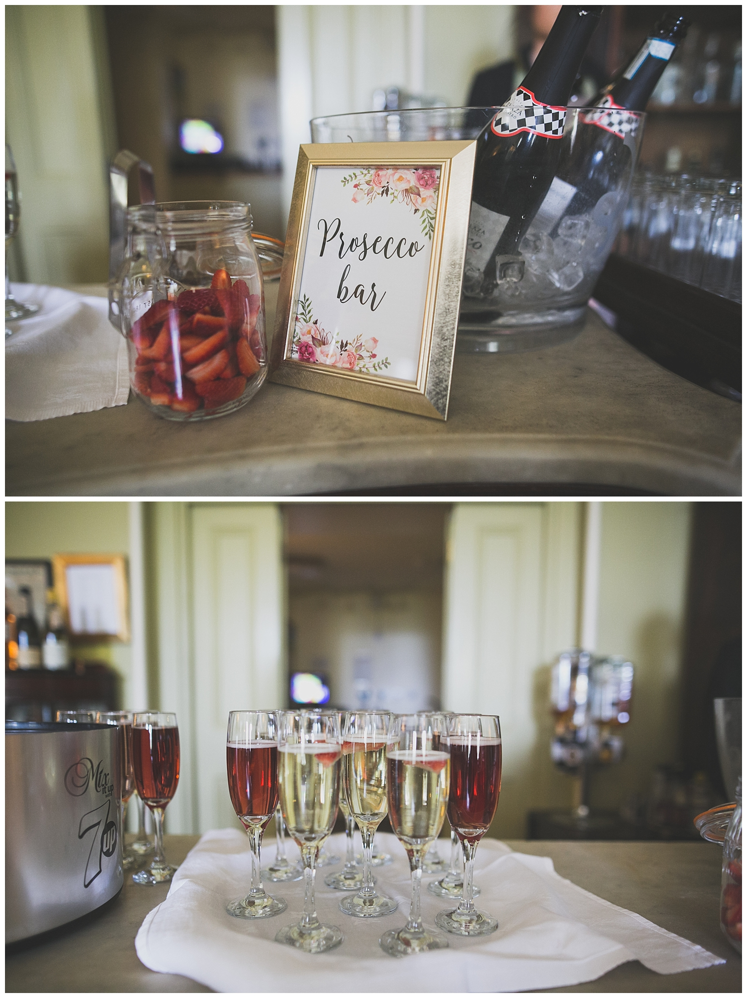 prosecco bar sign at wedding