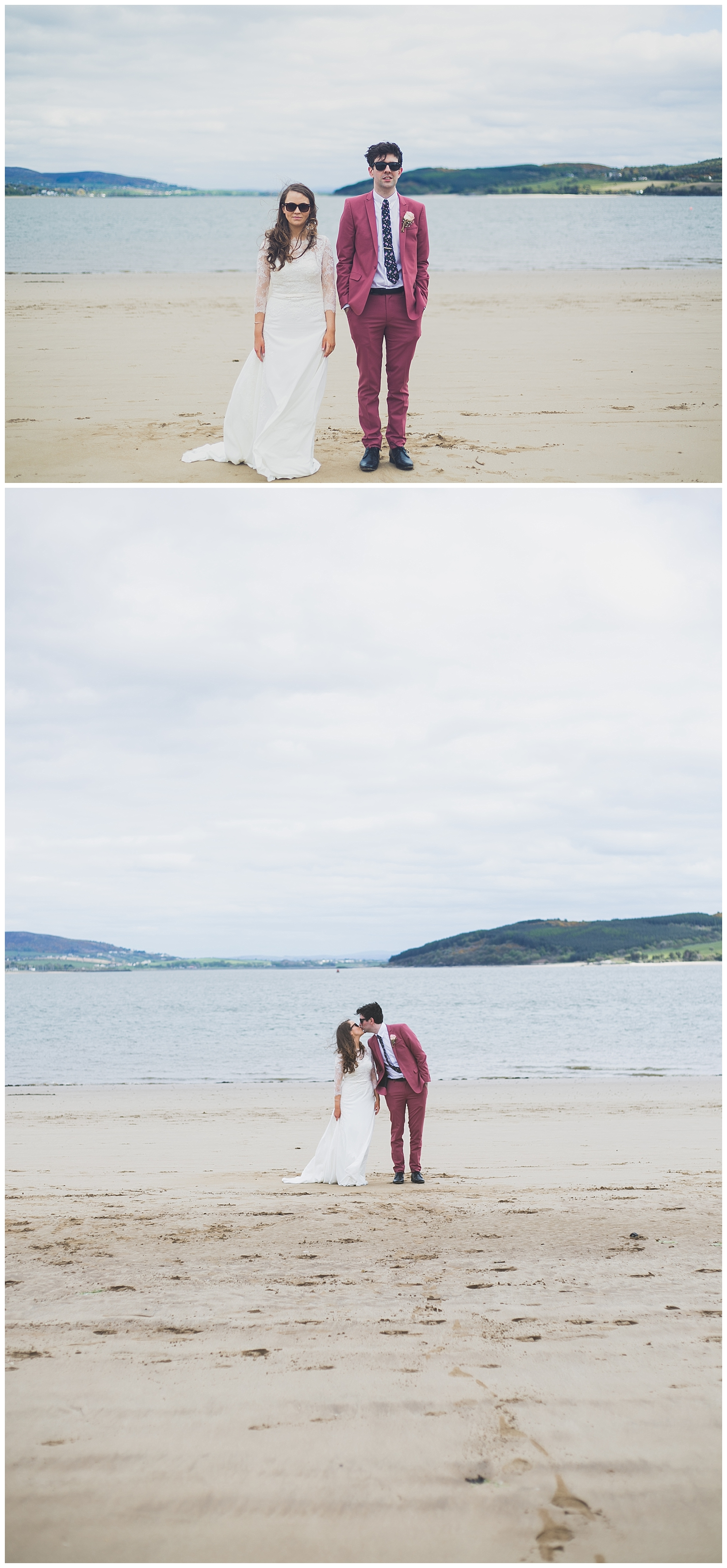 Beach portraits with bride & groom at Rathmullan House