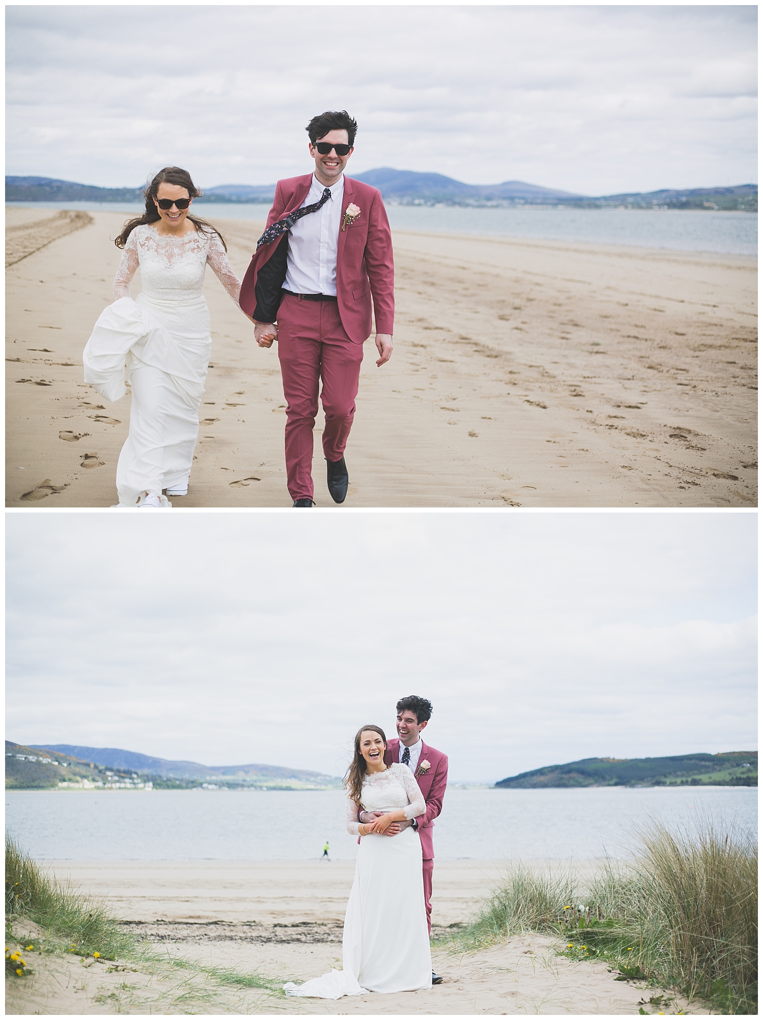 Fun wedding day portraits at the seaside in Rathmullan