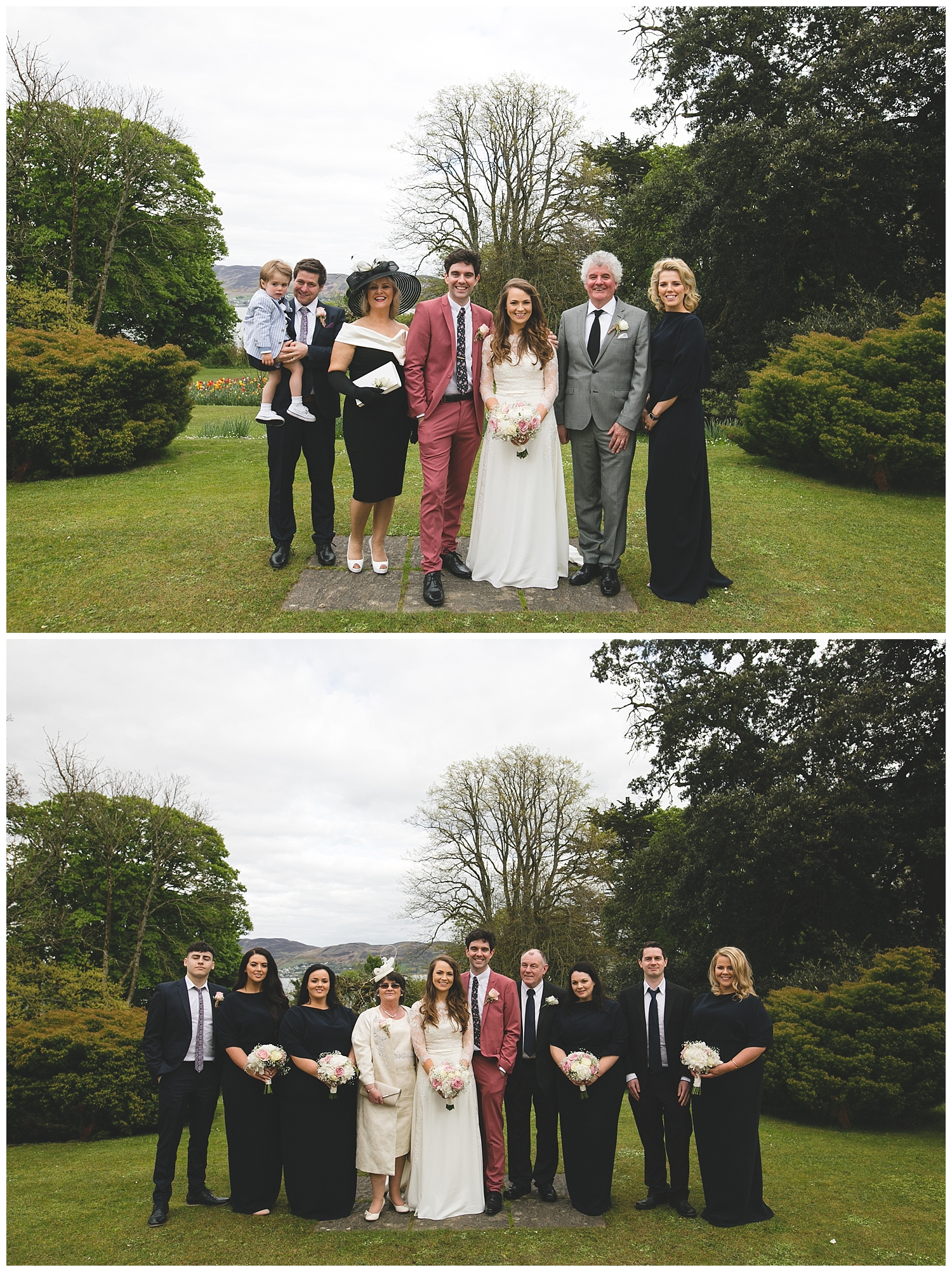 Formal yet informal style wedding family photographs