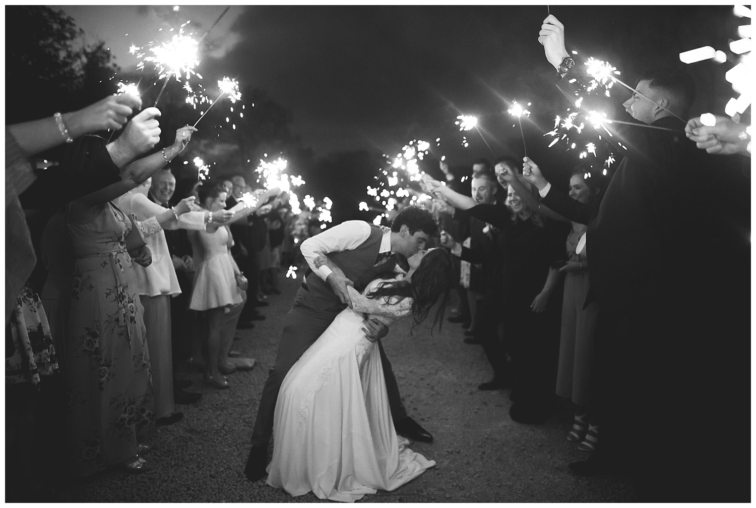 Wild Things Wed Photography - Night time sparkler arch