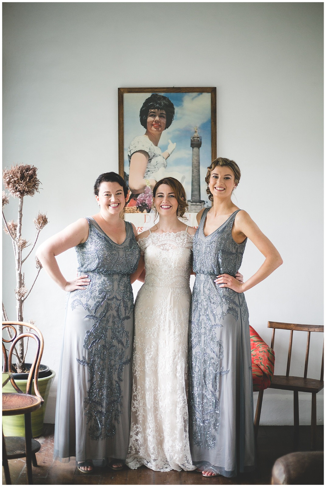 Birdesmaids in stunning blue grey sequins gowns - Captured by Wild Things Wed Photography