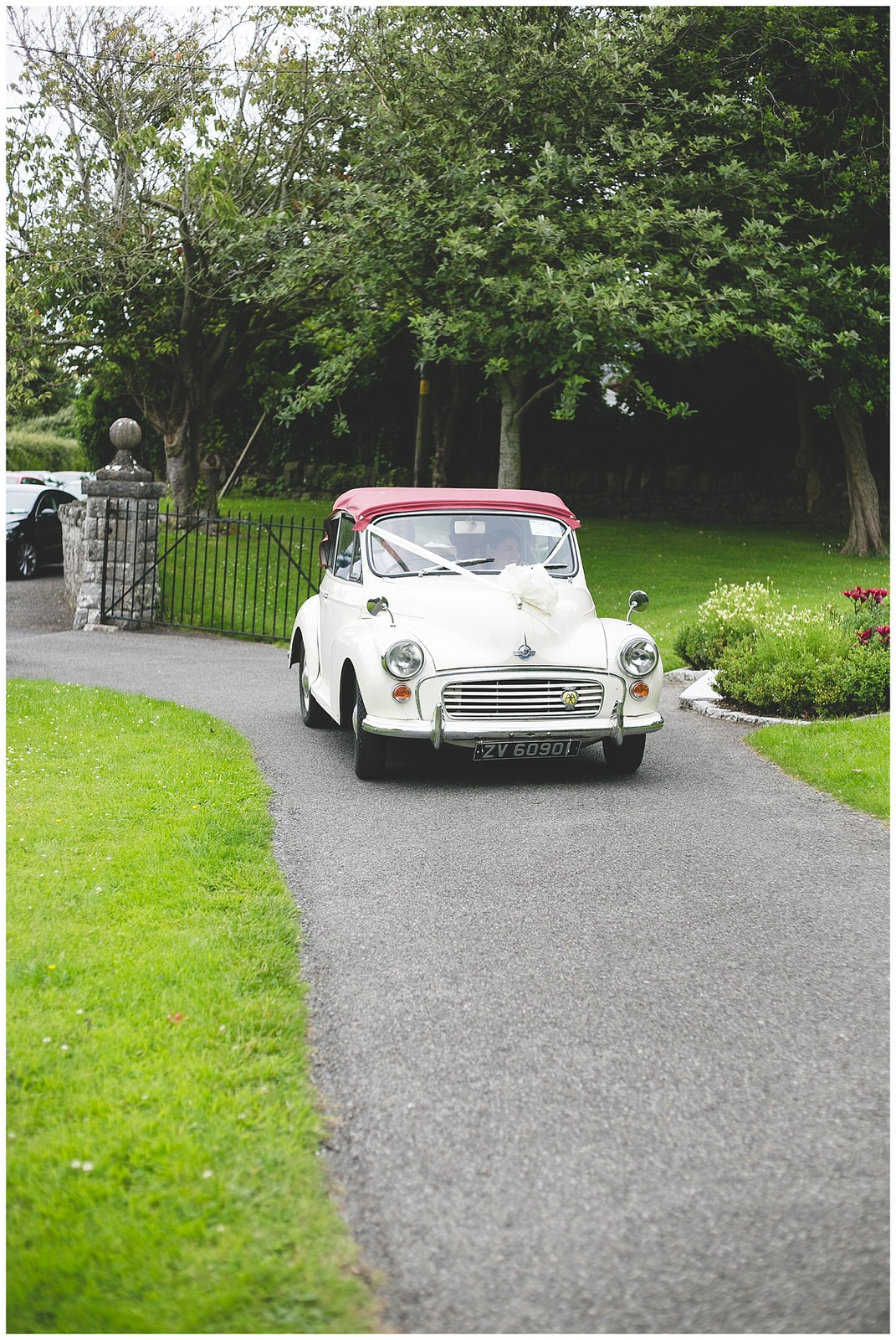 Cute white & red mini wedding car