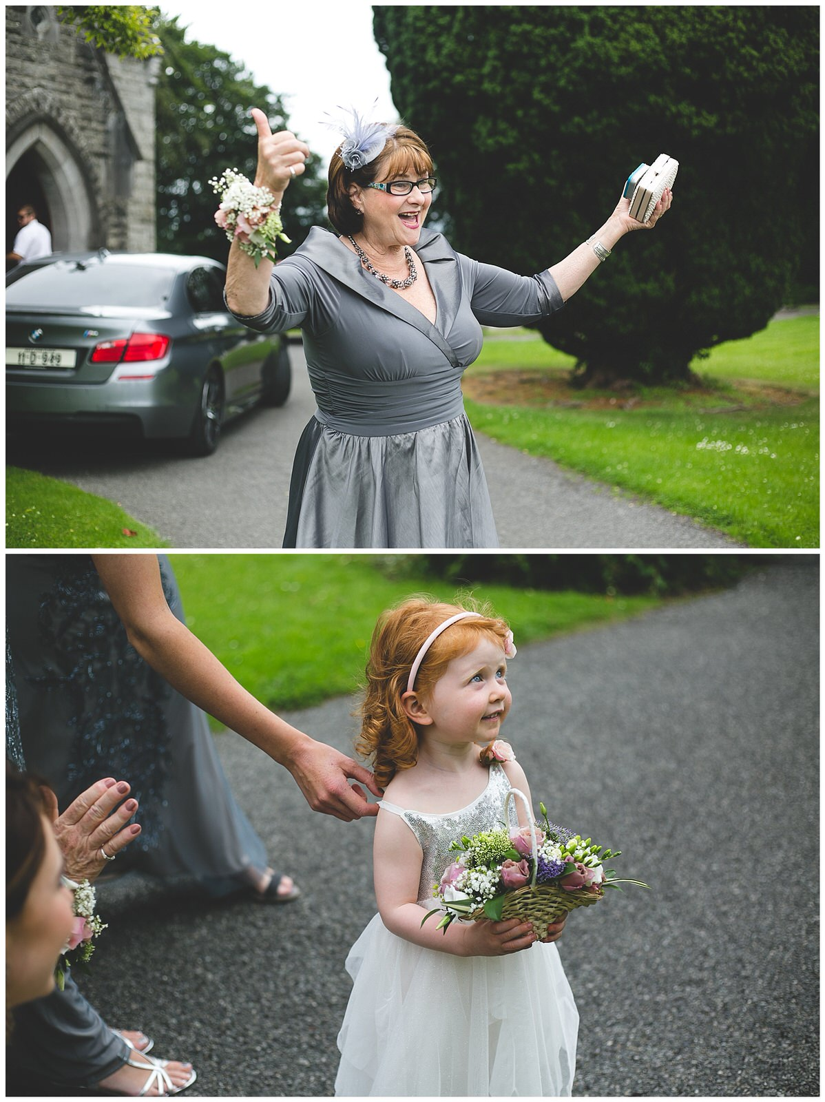 Mother of the Bride wearing a stylish wrap dress and corsage