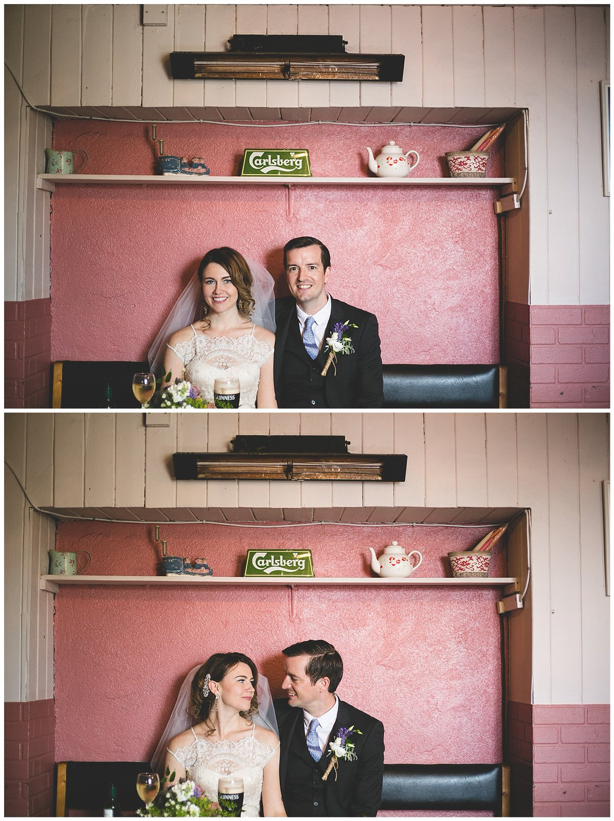 Wedding portraits in a cute Irish pub