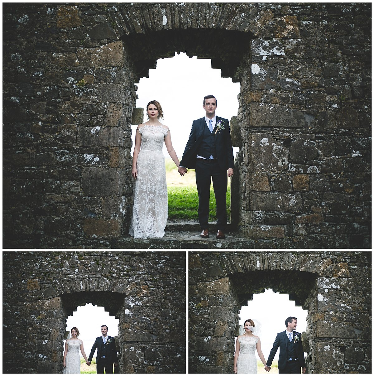 Cool wedding portraits in a old crumbling castle ruin in Meath, Ireland