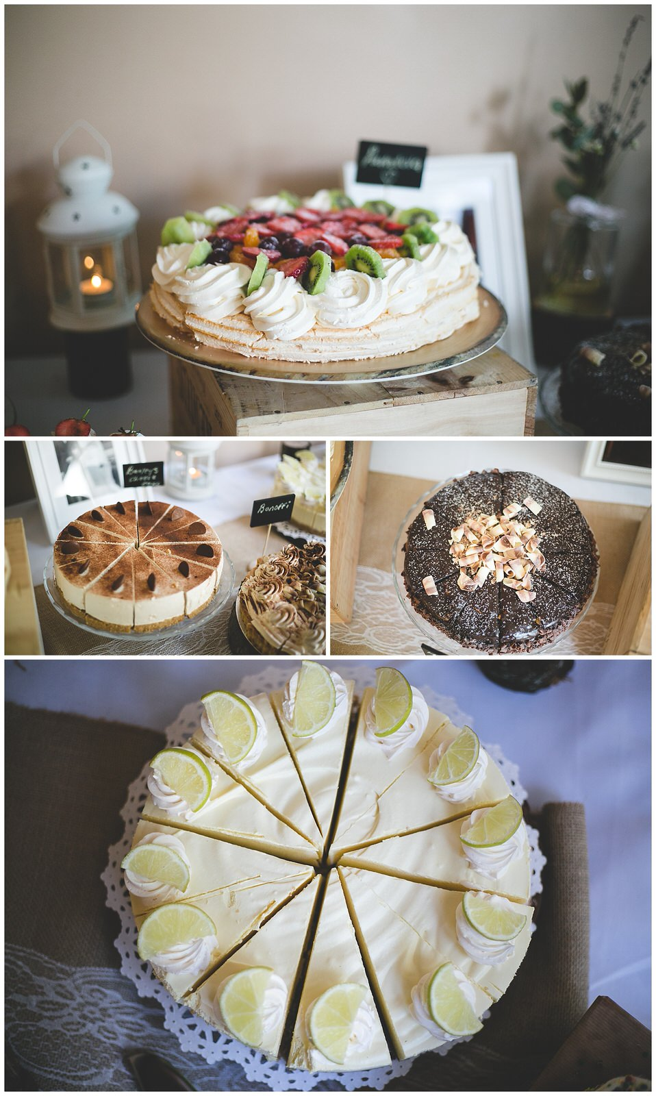 Wedding cake table - meringue, lemon cheesecake, gateaux