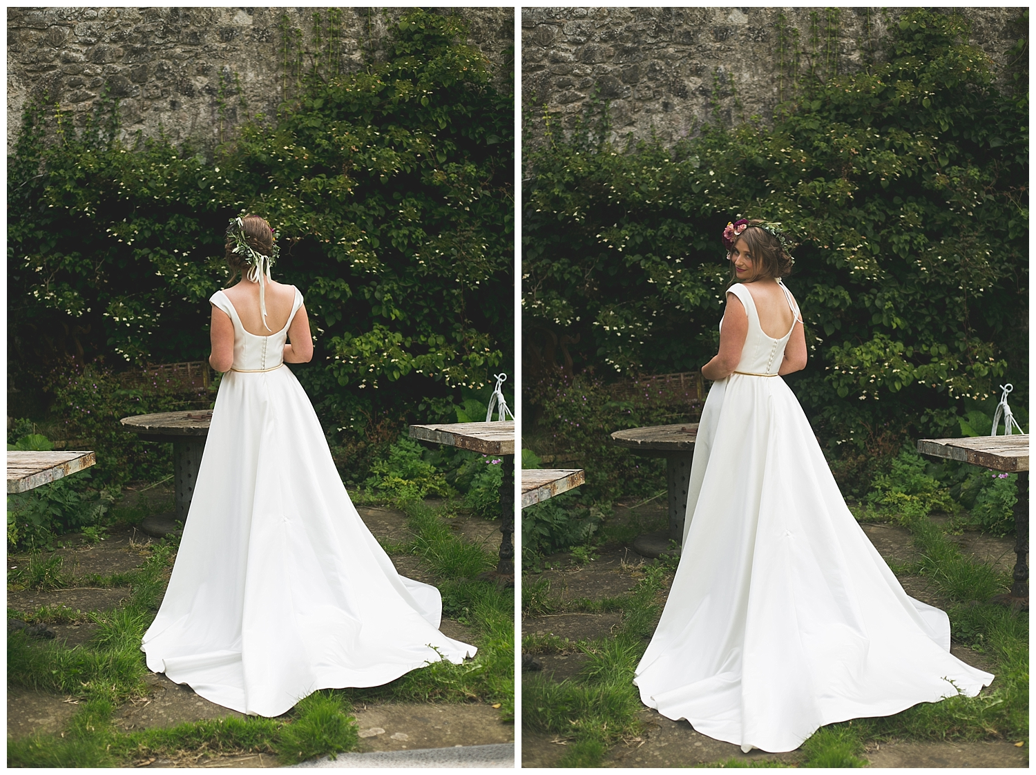 Back of a stunning white wedding dress with button details