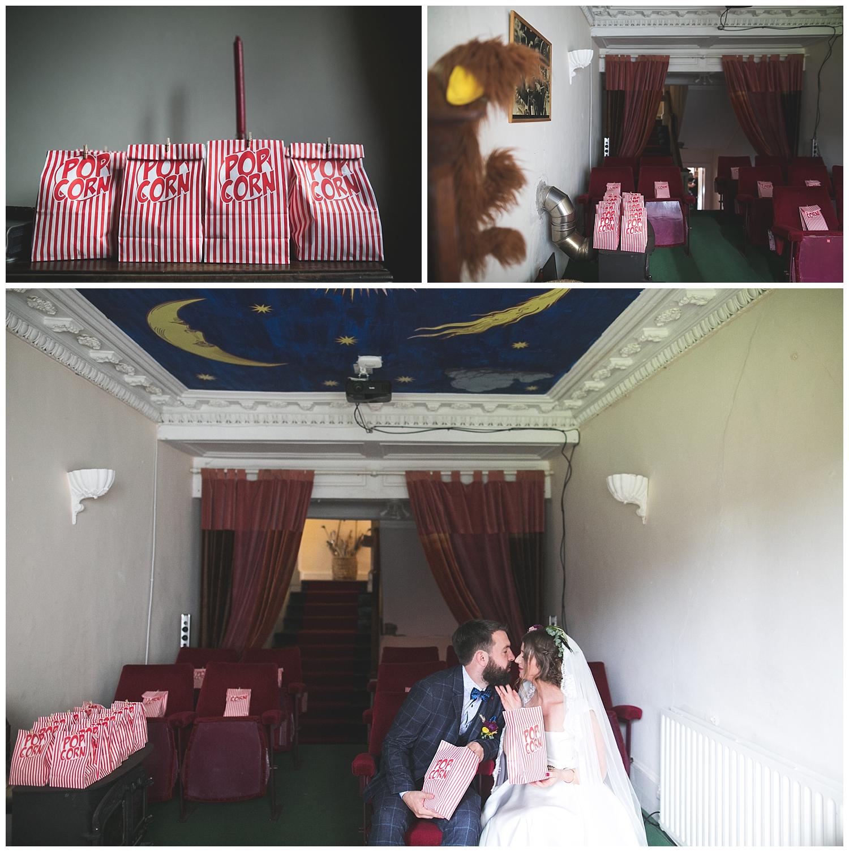 Cinema room and popcorn at Killyon Manor