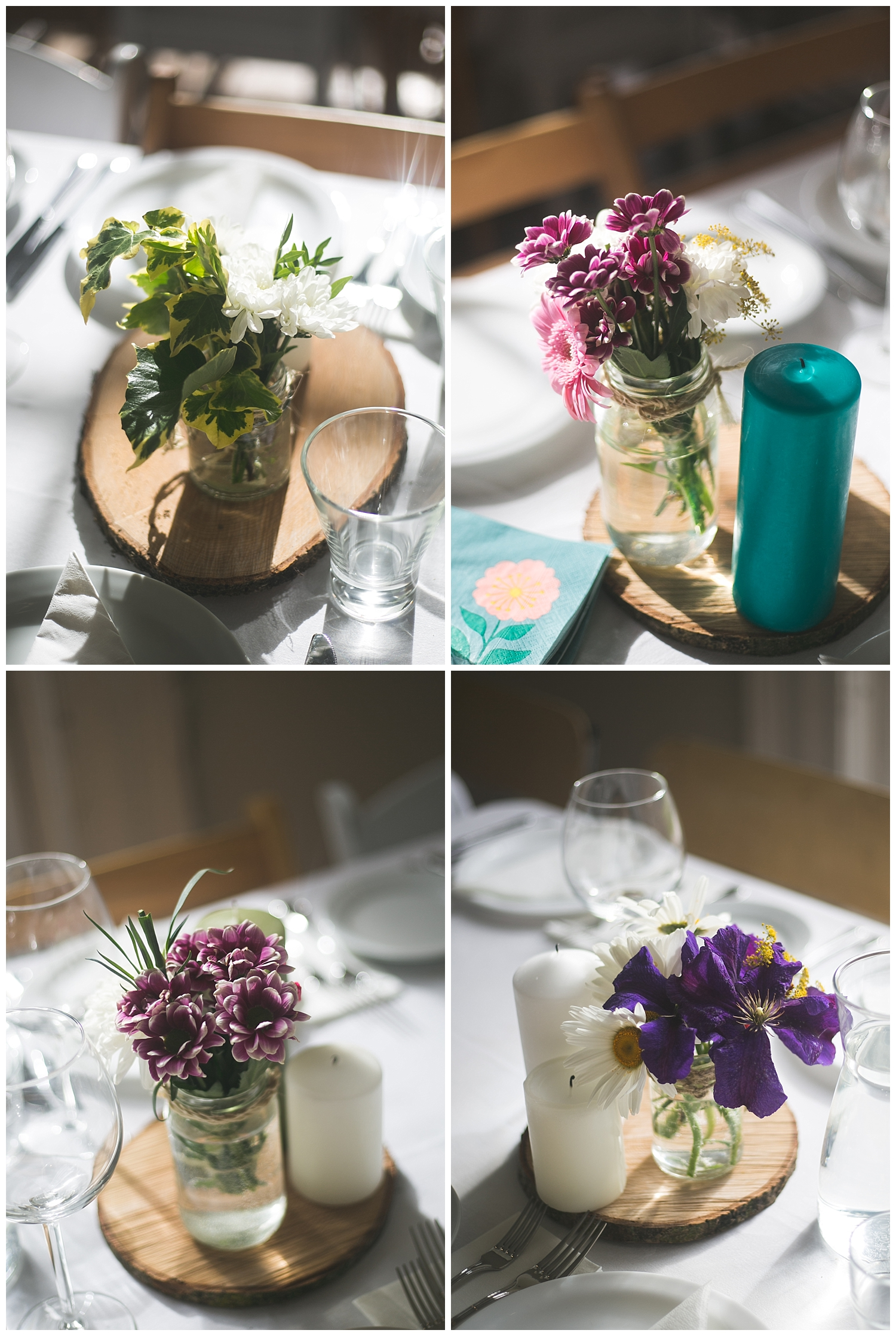 cute wild flower and tree log table centrepieces