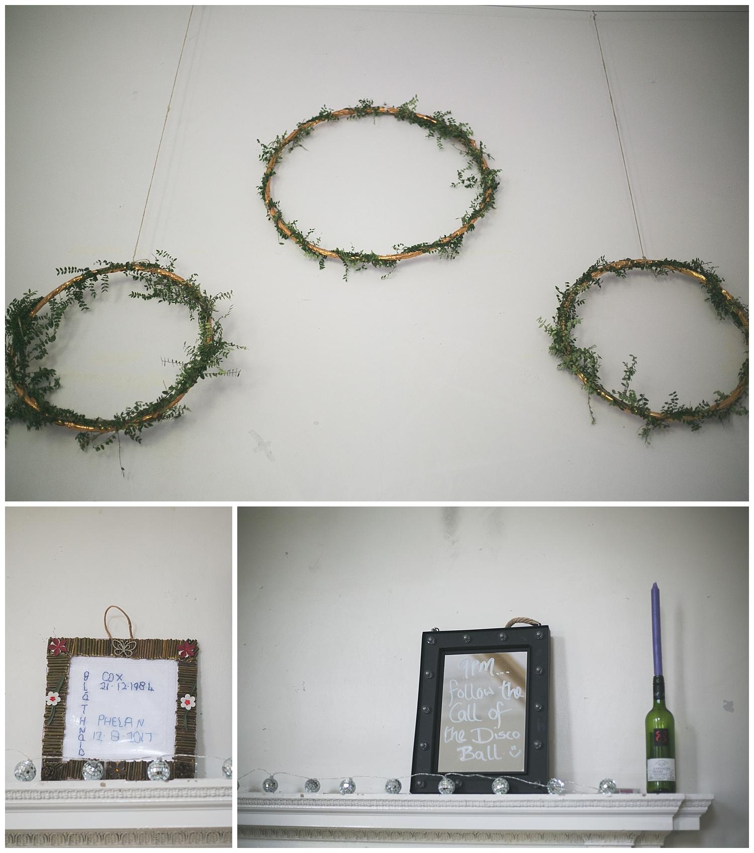 DIY gold wedding hoop decorations