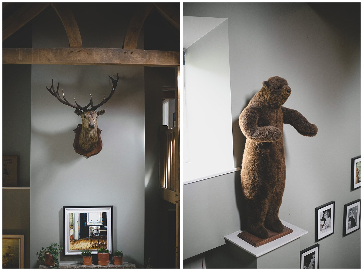 Deer and fake taxidermy bear at Mount Druid