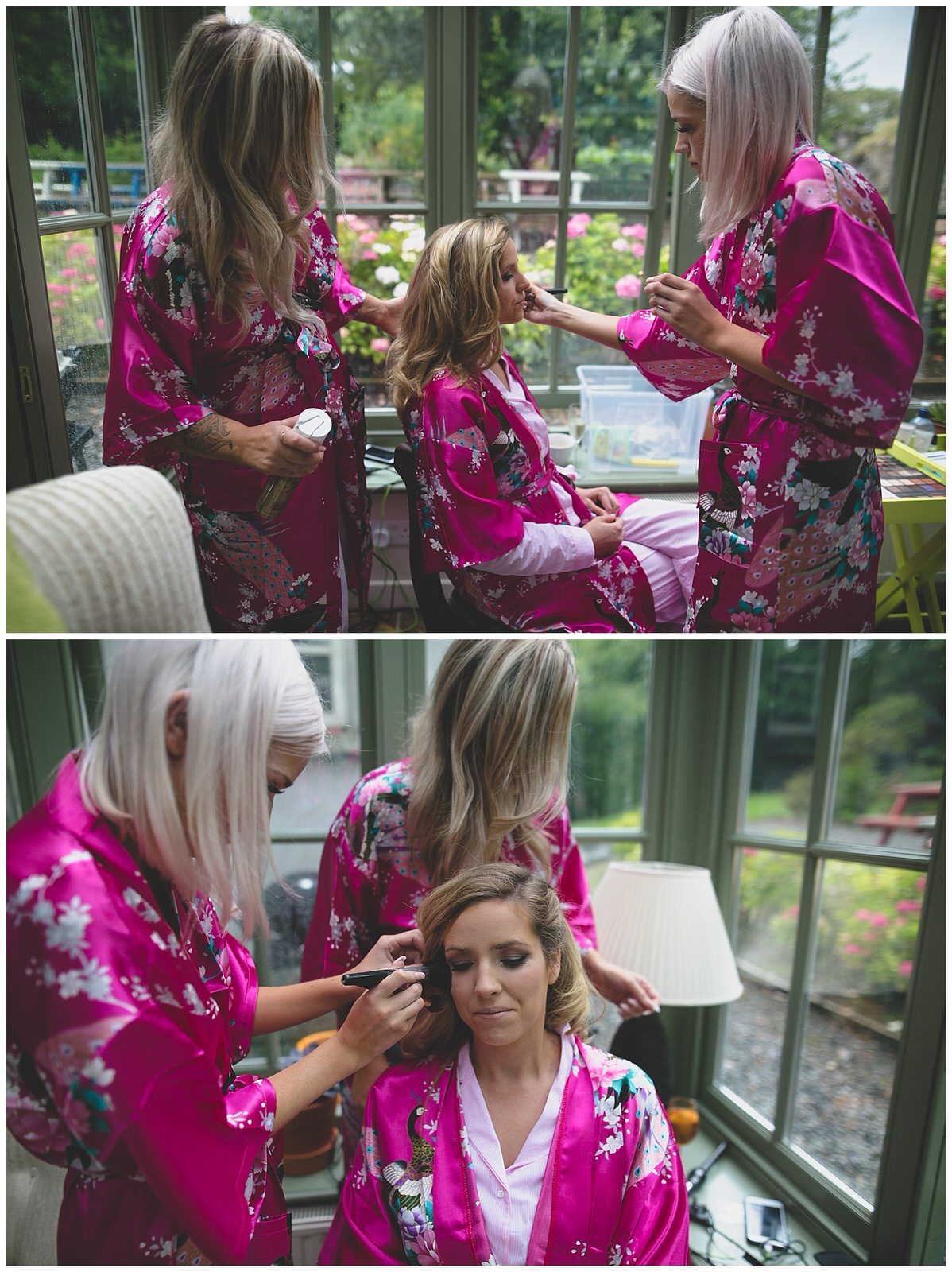 bridal party in matching floral silk dressing gowns