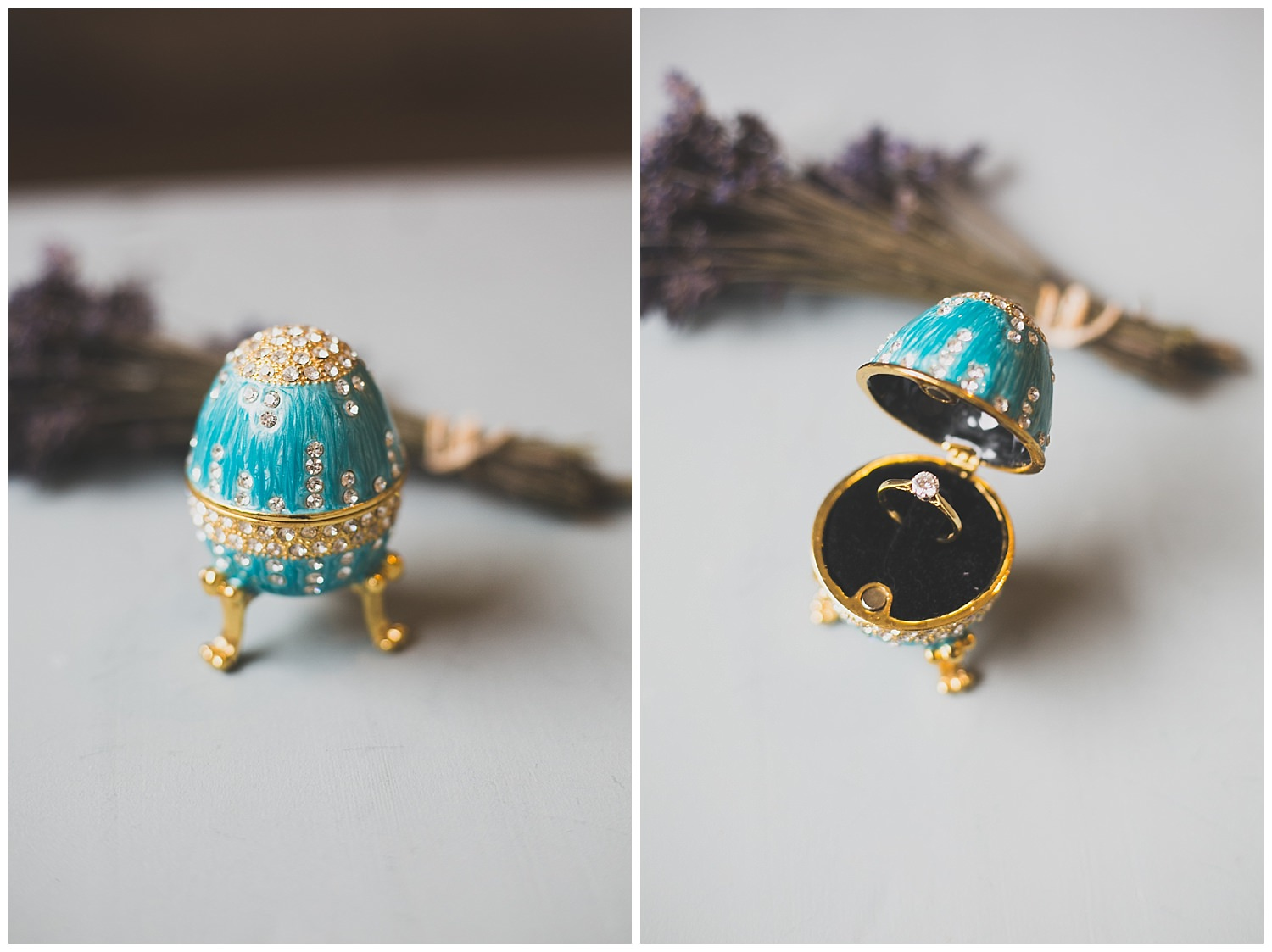 Turquoise and gold wedding ring holder