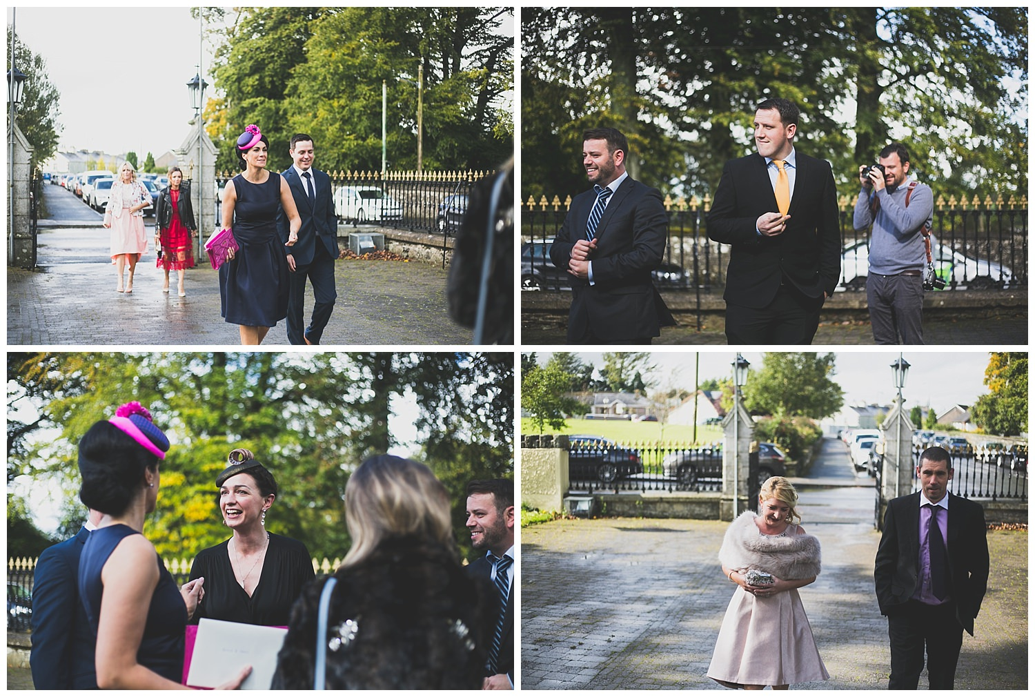 shots of guests arriving to the wedding