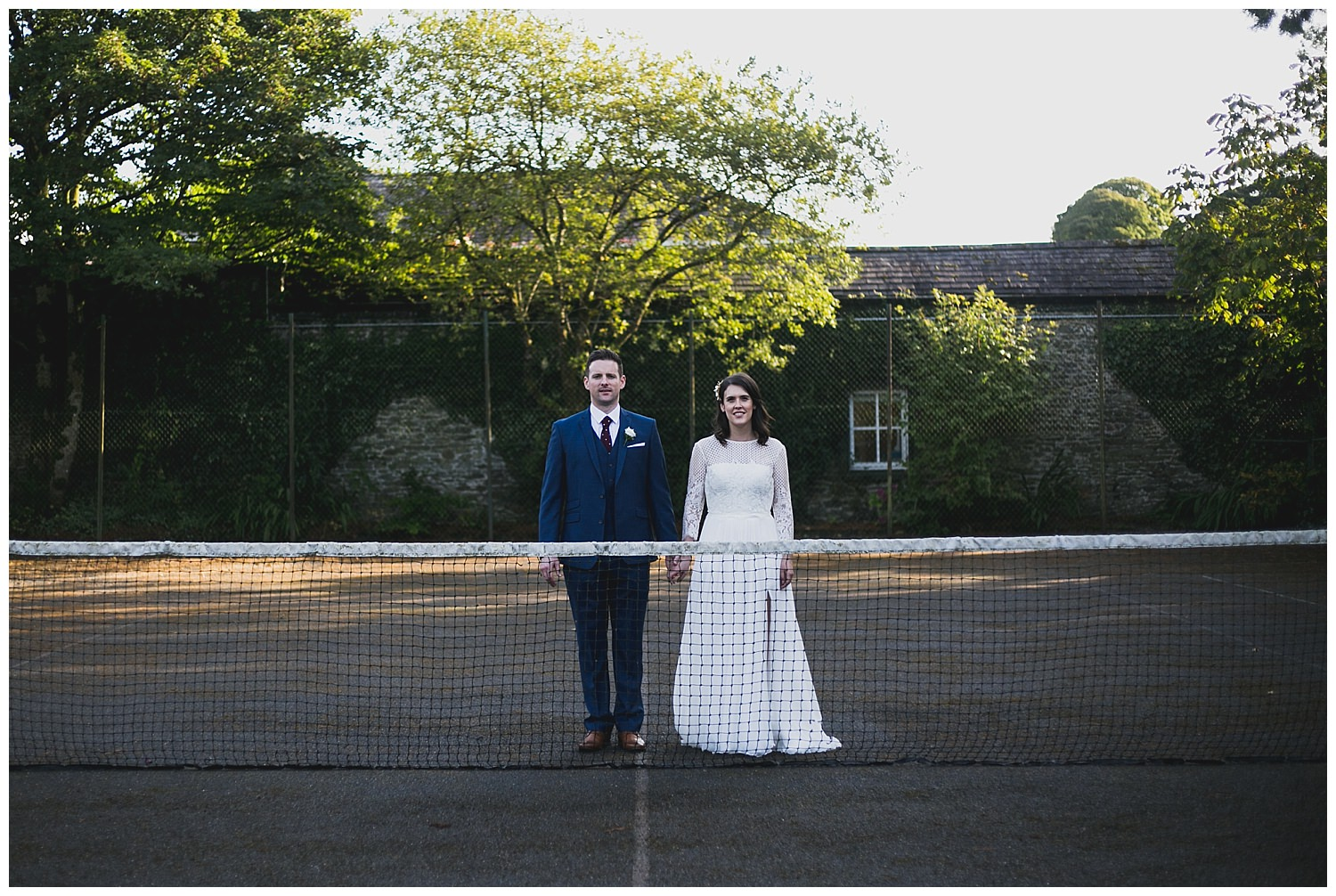 Wedding photographs at an old tennis court